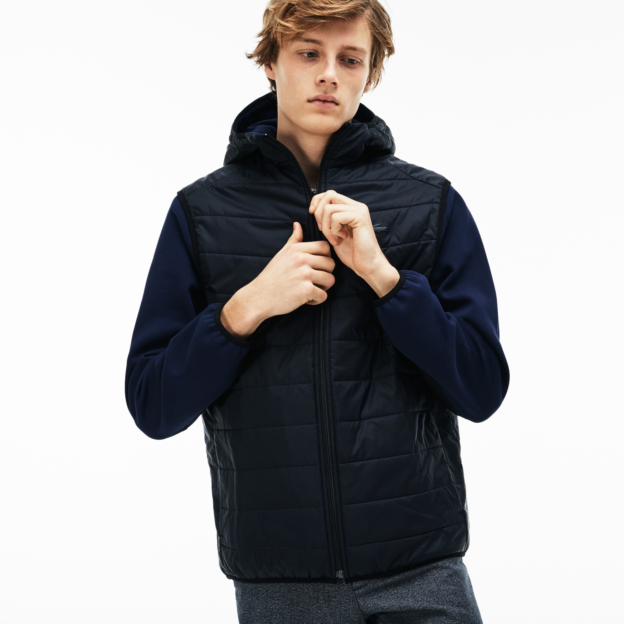 Men's Hooded Zippered Sweatshirt In Two-Tone Quilted Jersey