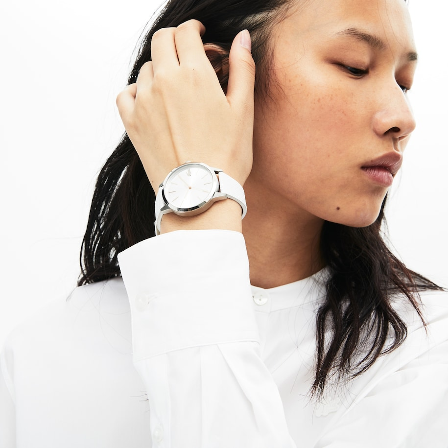 Ladies Lacoste 12.12 Premium Watch With White Leather With Embossed Petit Piqué Pattern Strap