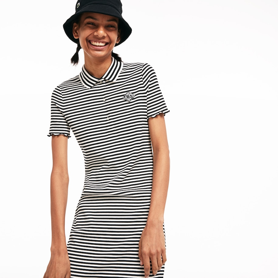 Women's Lacoste LIVE Diamond Badge Ribbed Striped Polo Dress
