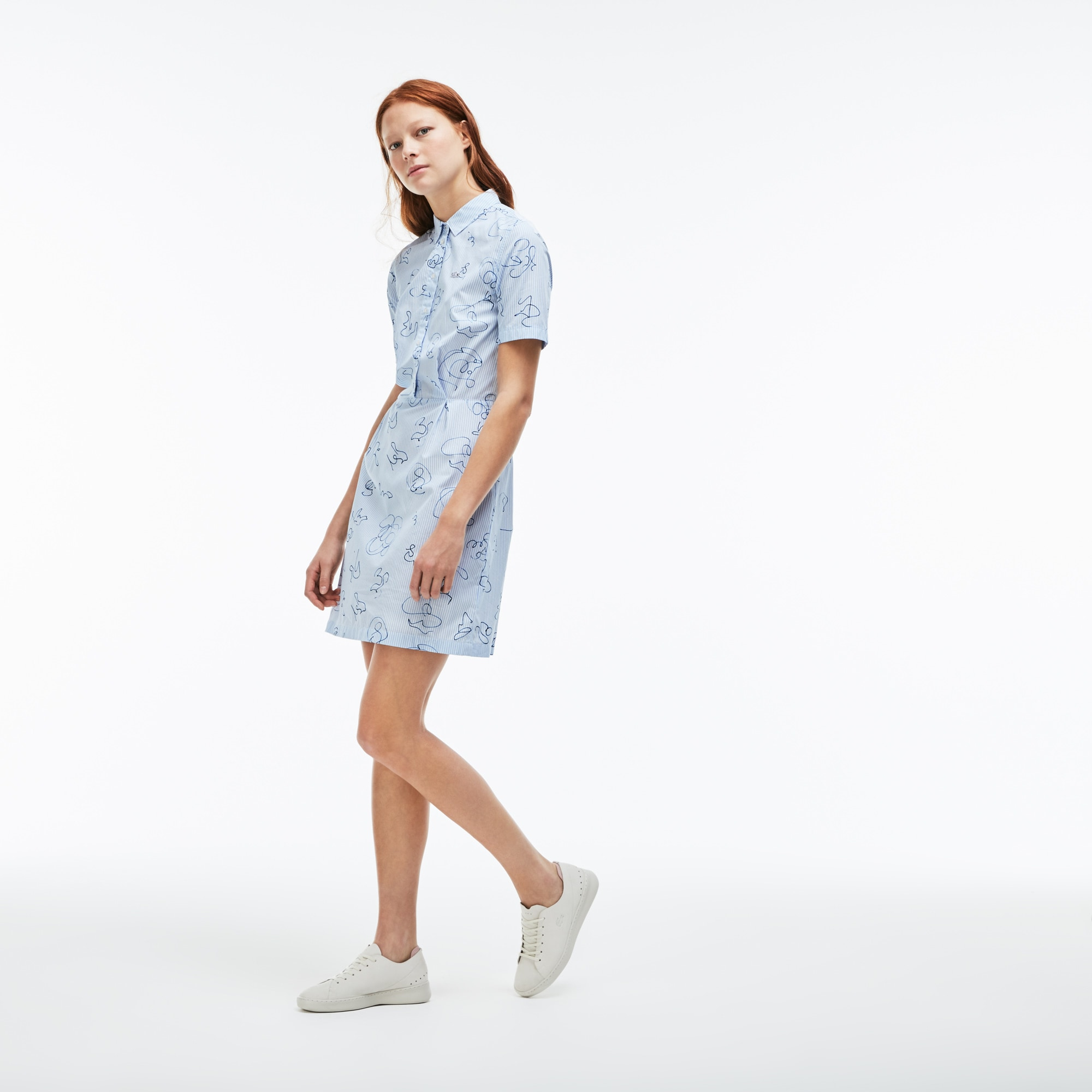 Women's Lacoste LIVE Striped Print Cotton Poplin Shirt Dress