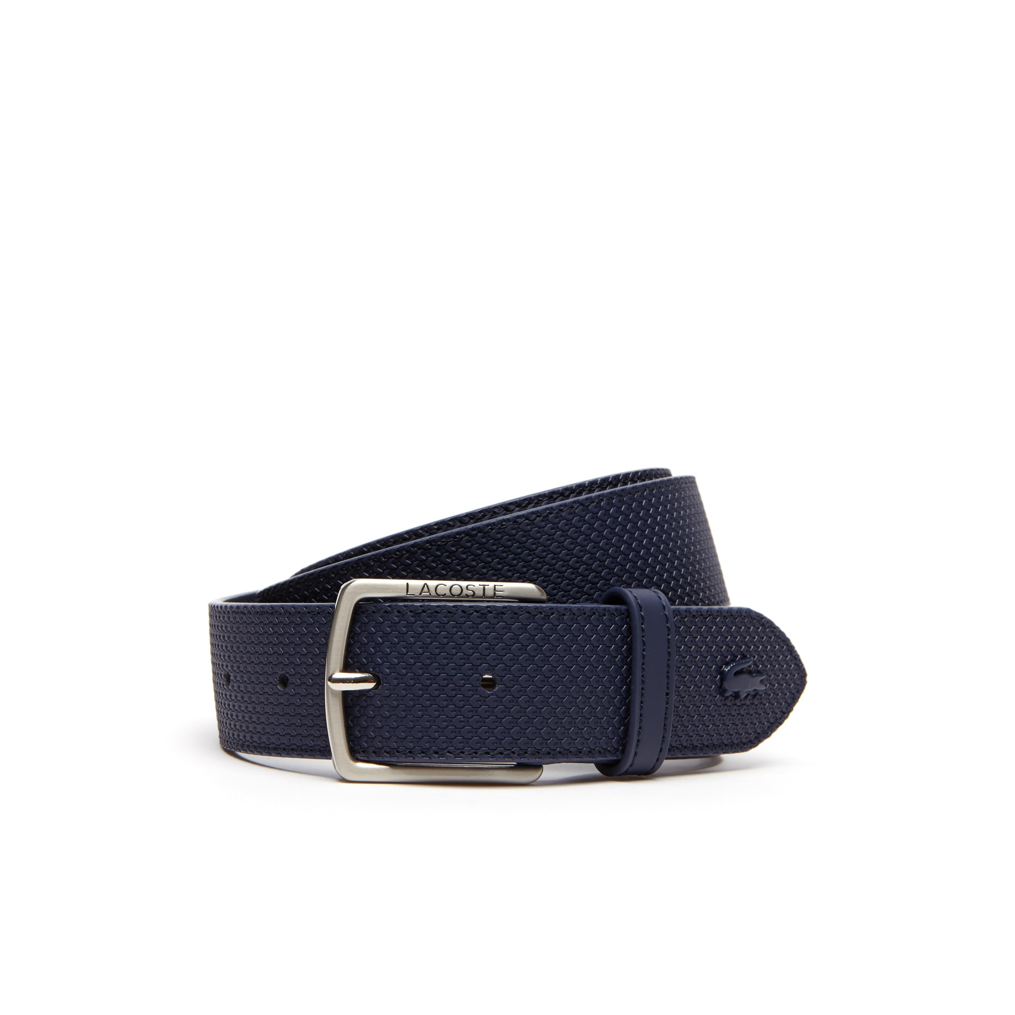Men's Chantaco Lacoste Engraved Tongue Buckle Leather Belt