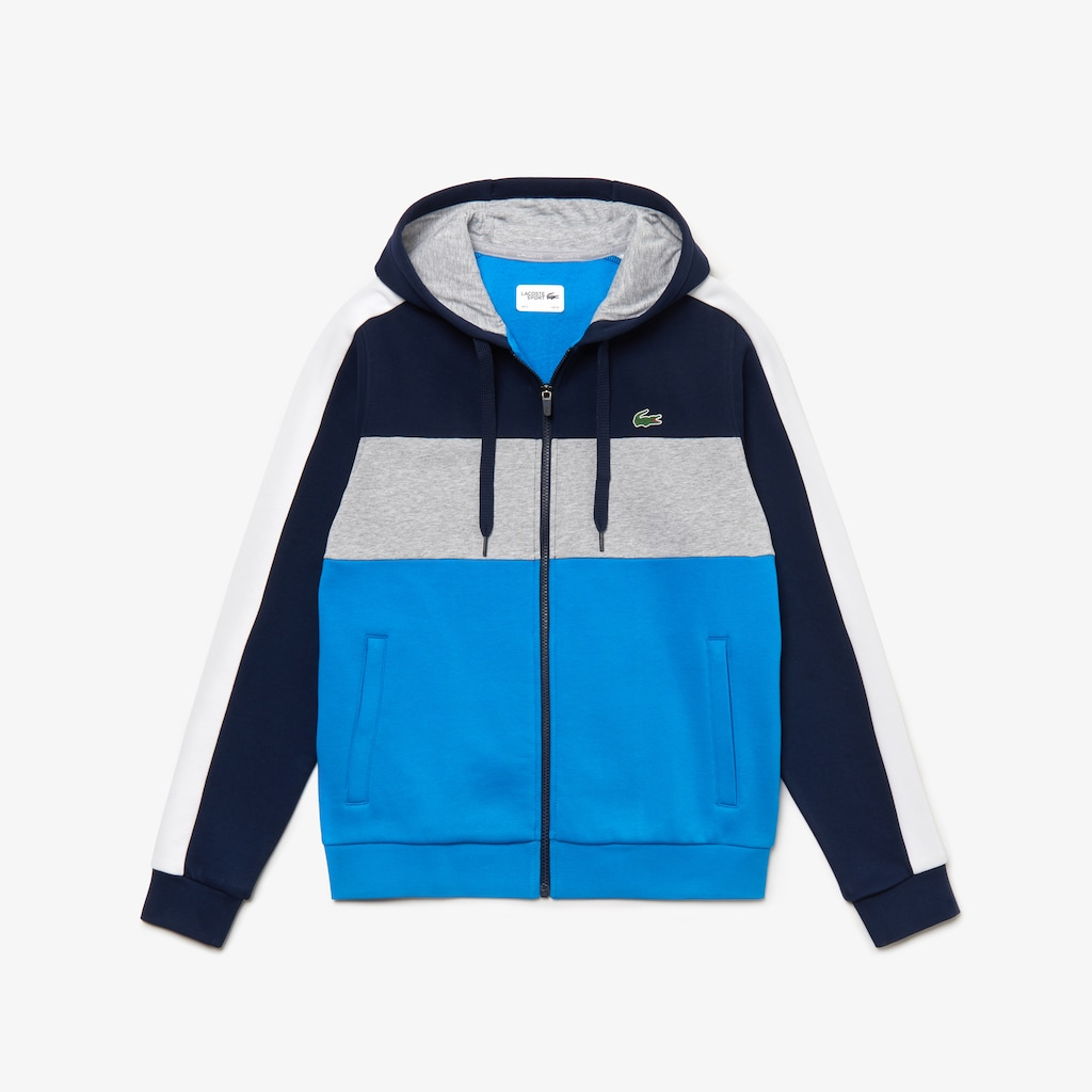 8f18867b0e0fab Men s Lacoste SPORT Hooded Colourblock Zip Fleece Tennis Sweatshirt ...