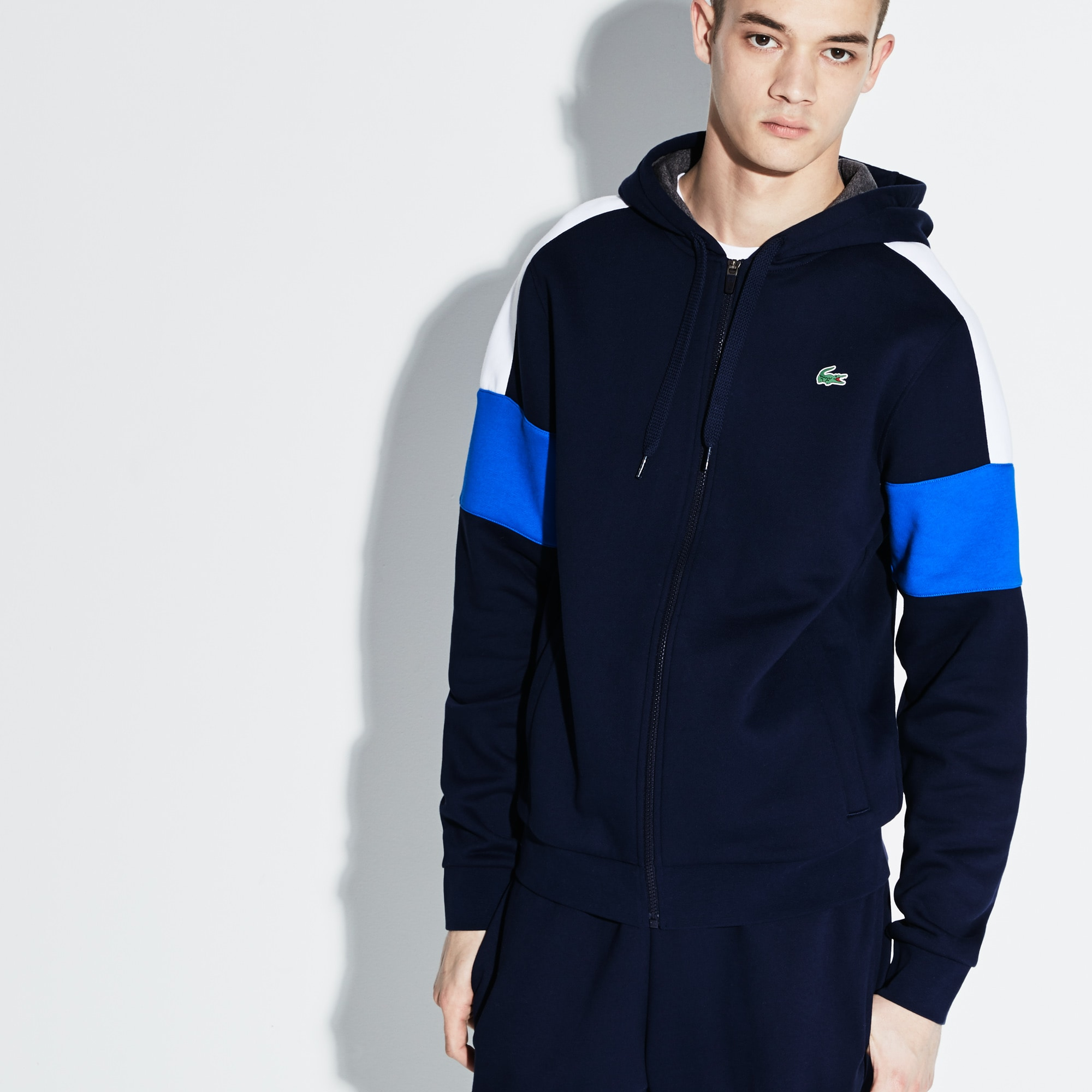 Men's Lacoste SPORT Colorblock Fleece Zippered Tennis Sweatshirt