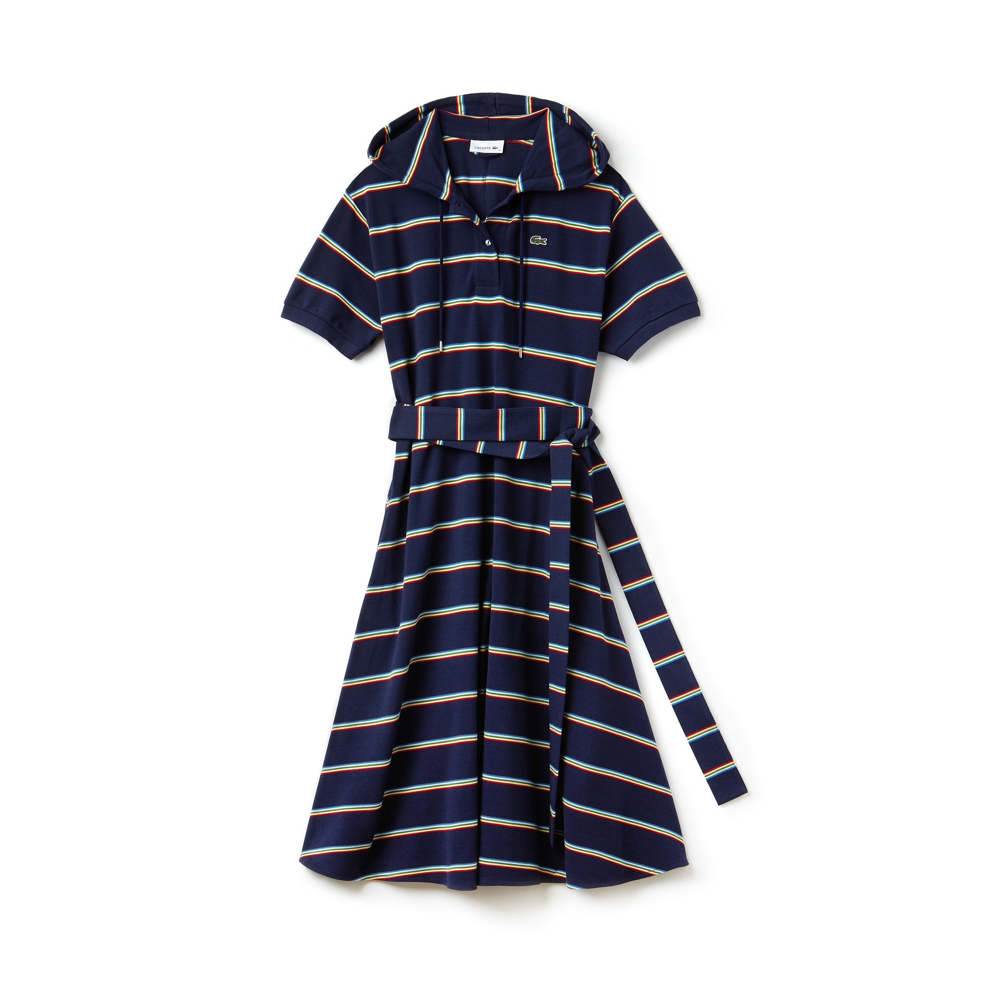 Women's Hooded Striped Cotton Piqué Polo Dress