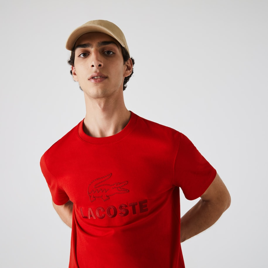 Men's Crew Neck Tone-On-Tone Lacoste Embroidery Cotton T-shirt