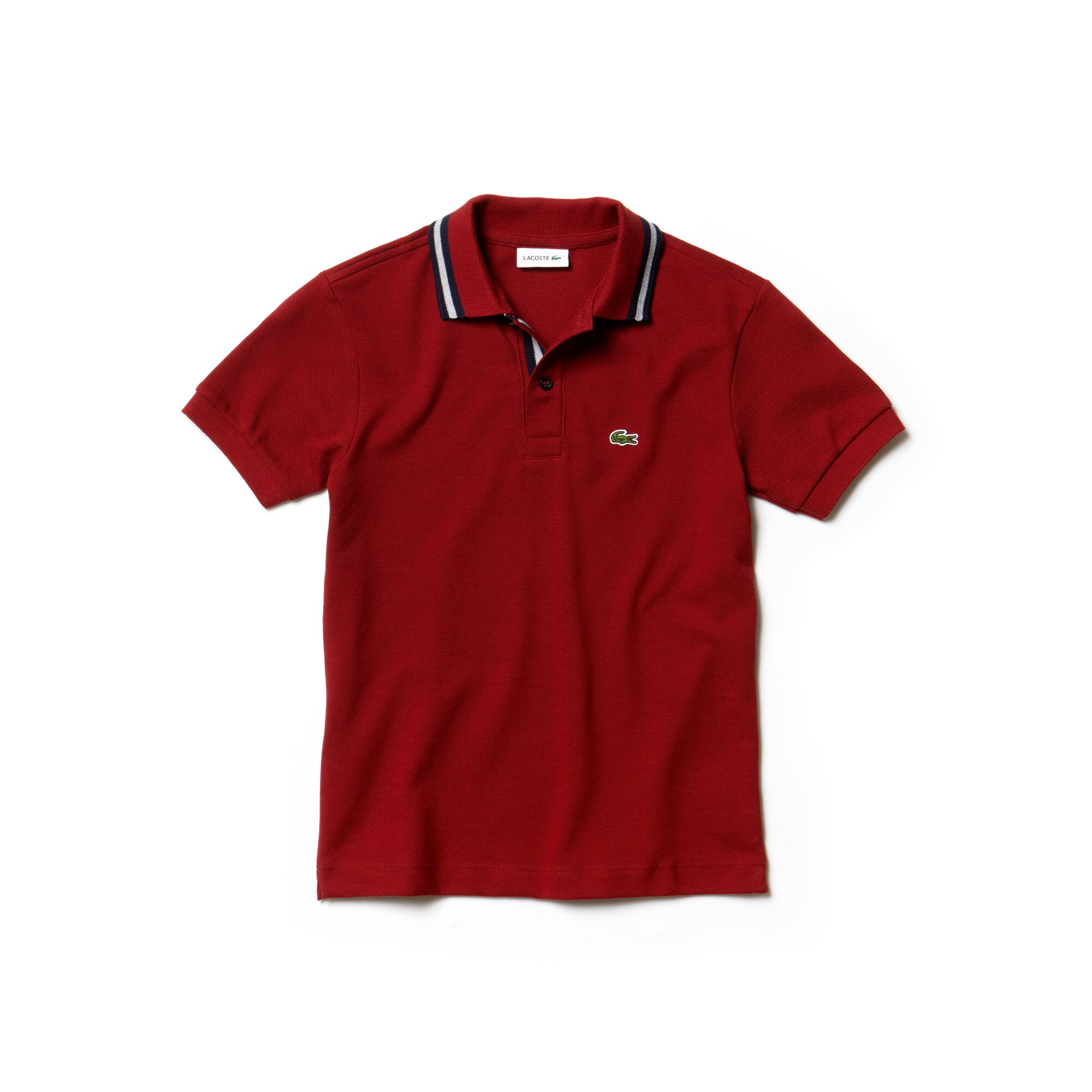 Boys' Lacoste Piped Neck Cotton Piqué Polo Shirt