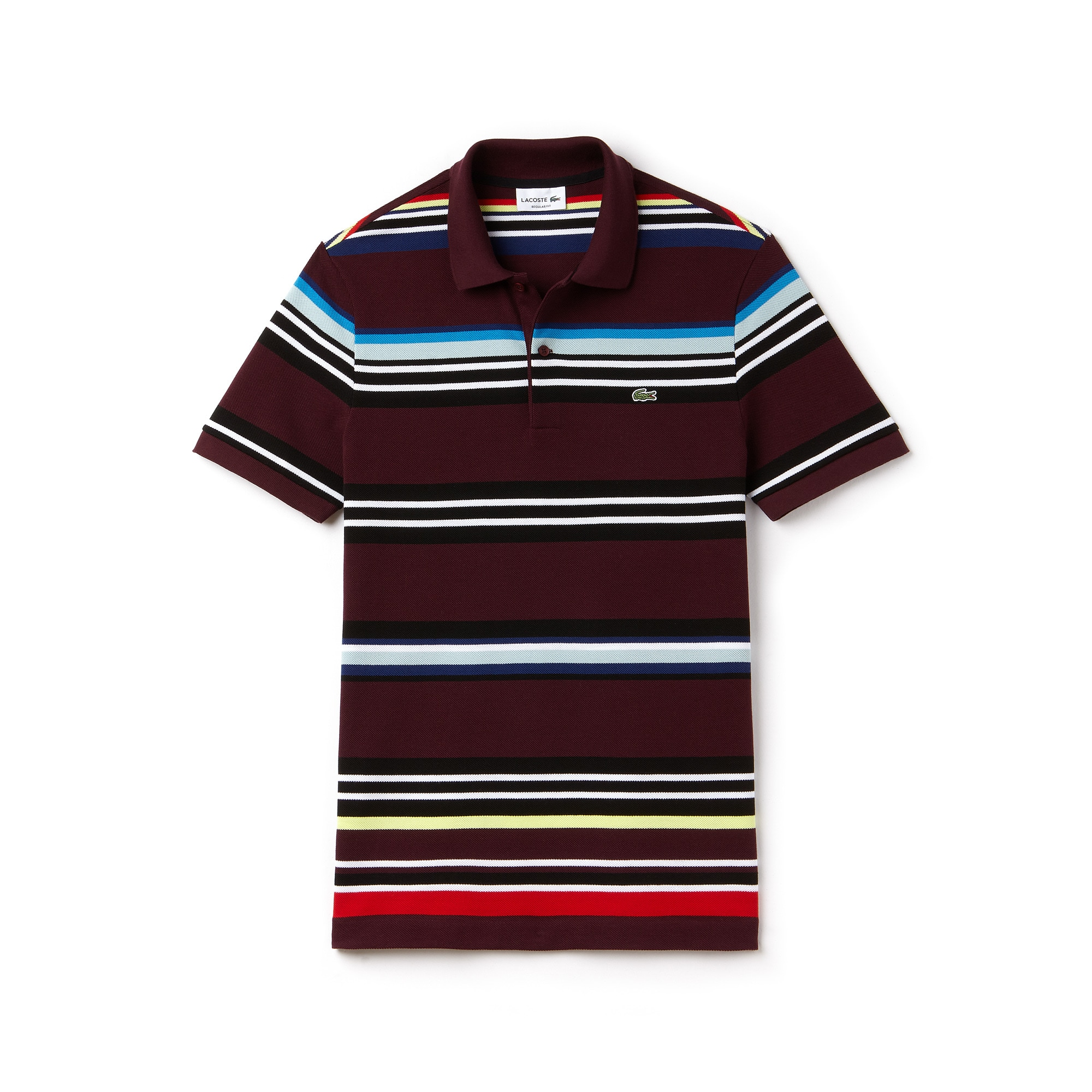 Men's Lacoste Regular Fit Flecked Colored Stripe Piqué Polo