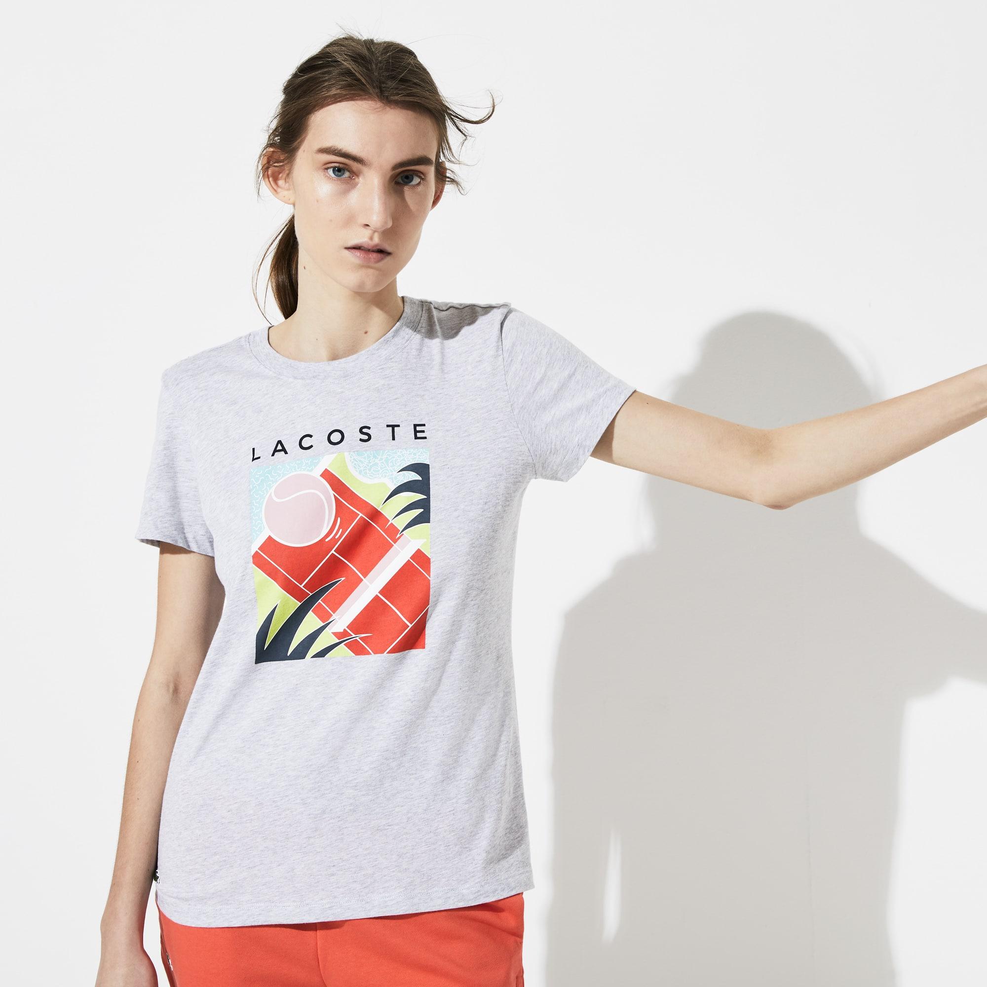 3b7a80ee Women's Lacoste SPORT Crew Neck Print Flowing Cotton Tennis T-shirt |  LACOSTE