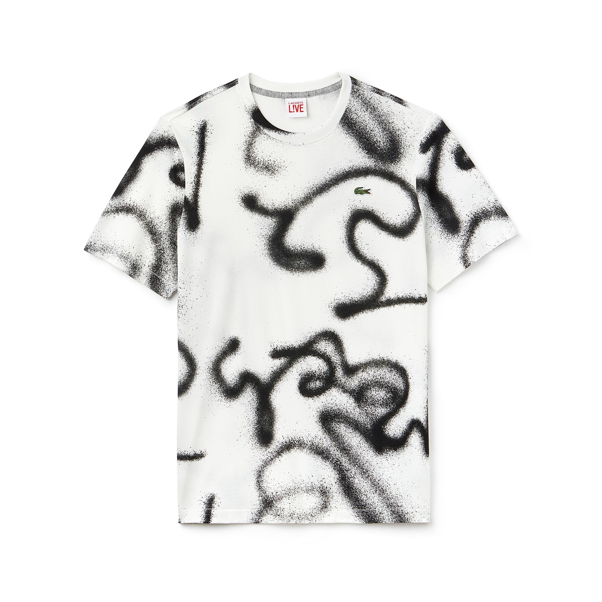 Men's Lacoste LIVE Crew Neck Graffiti Print Jersey T-shirt