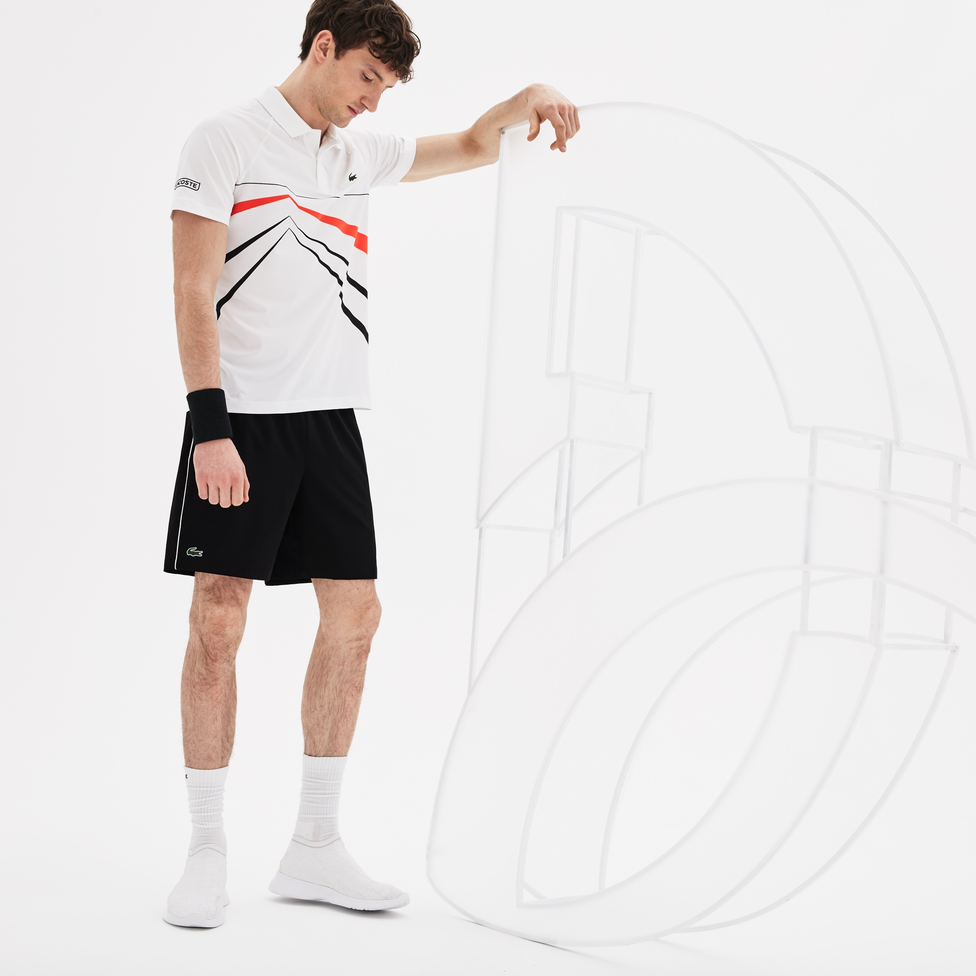 Men's Lacoste SPORT NOVAK DJOKOVIC SUPPORT WITH STYLE COLLECTION Piped Stretch Technical Shorts