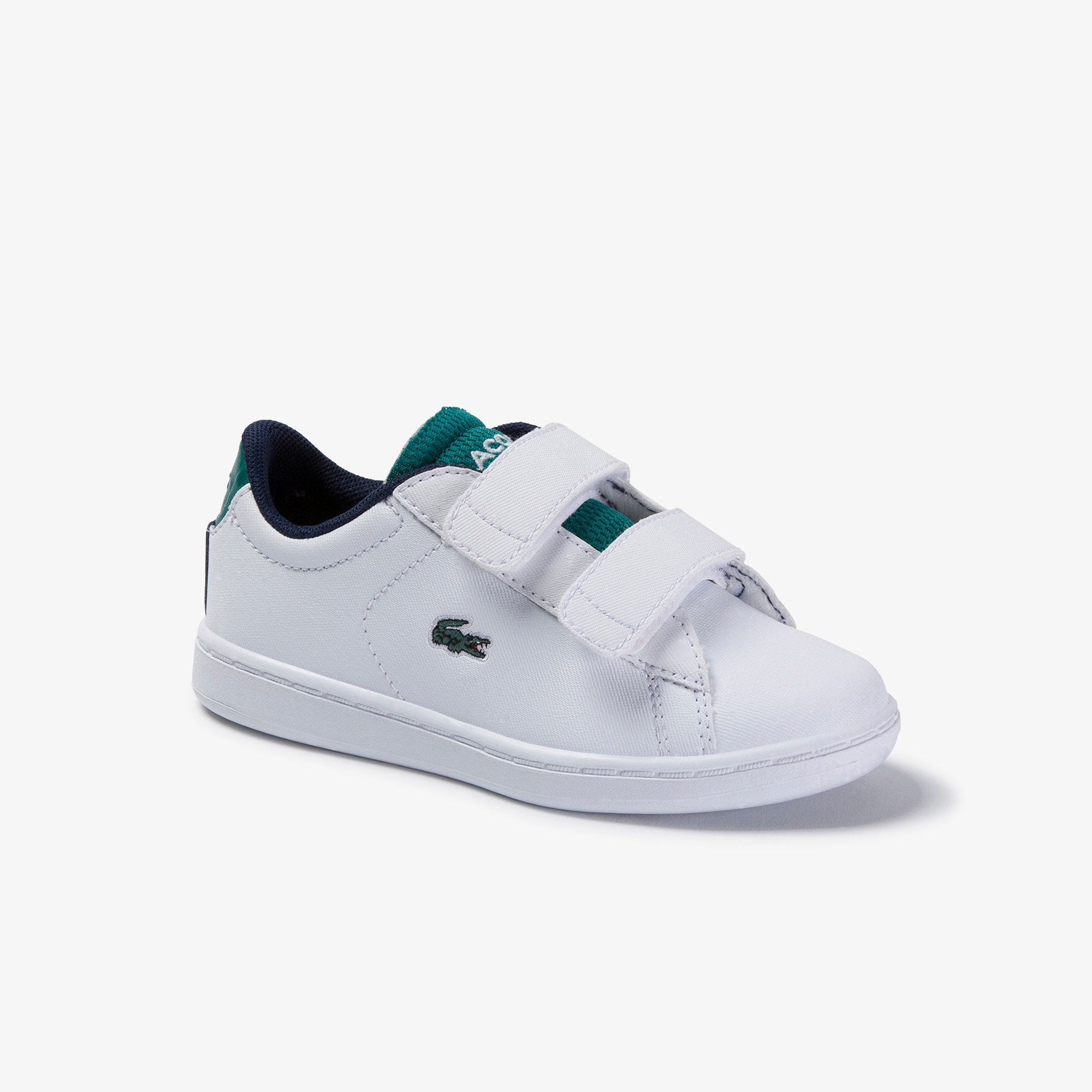 Boys Lacoste Junior Carnaby Evo Trainers in White red UK 3