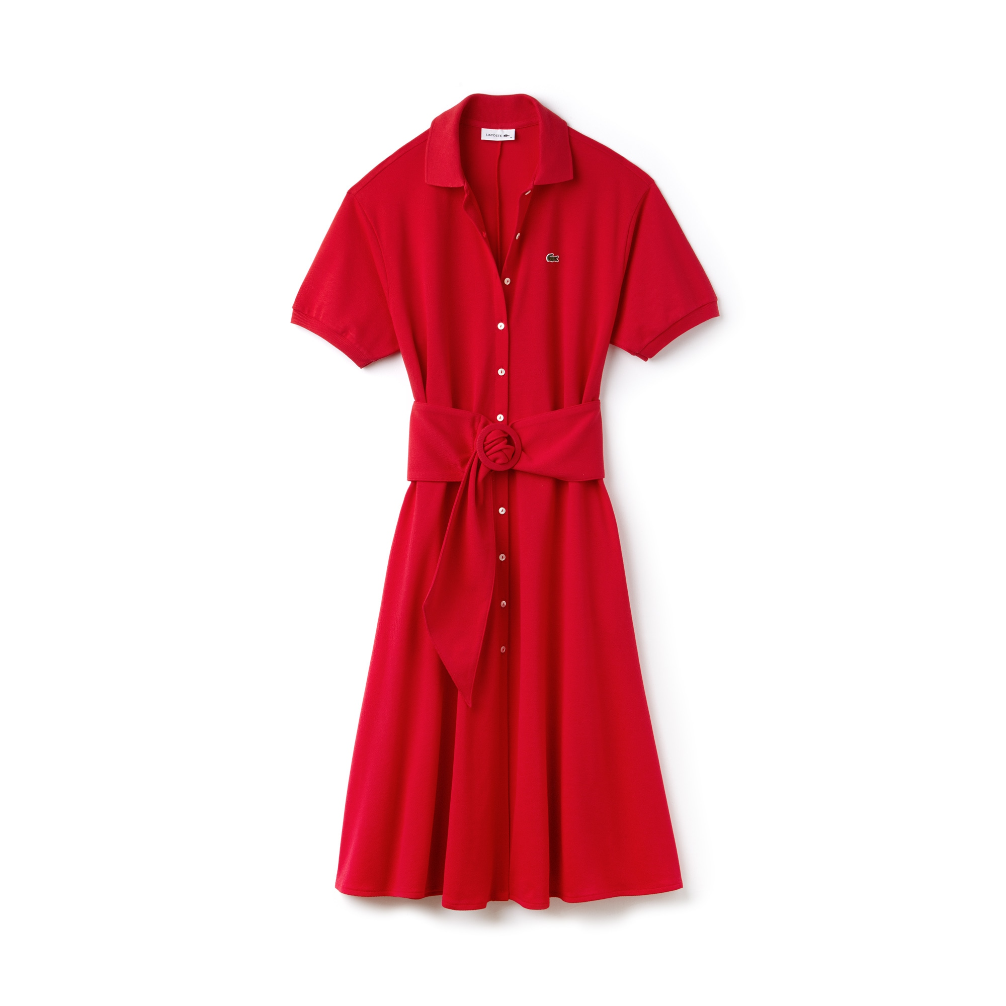 Women's Belted Buttoned Soft Petit Piqué Polo Dress
