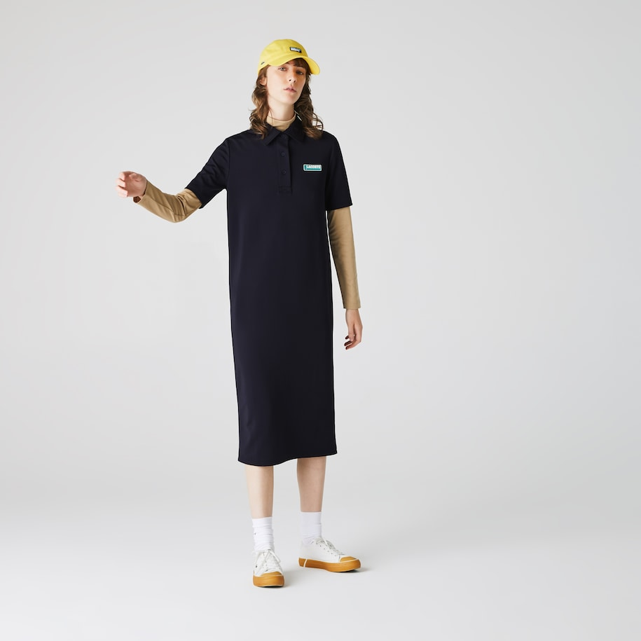 Women's Lacoste LIVE Straight Cut Badge Flowing Polo Dress
