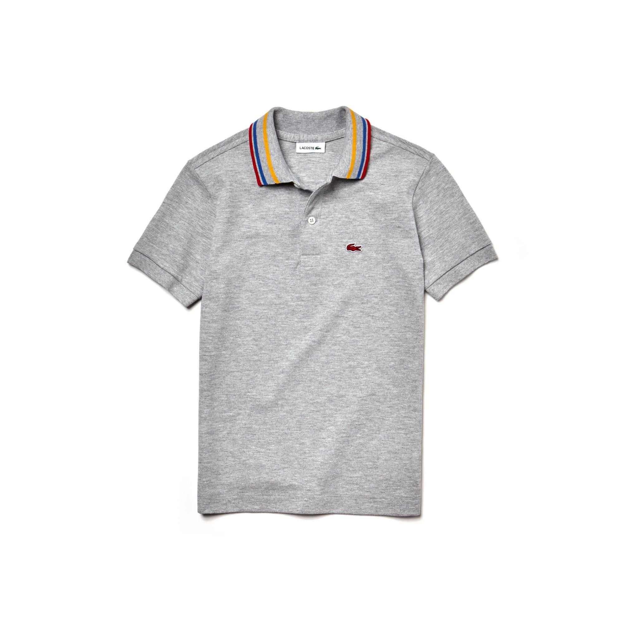 Boys' Lacoste Striped Neck Petit Piqué Polo Shirt