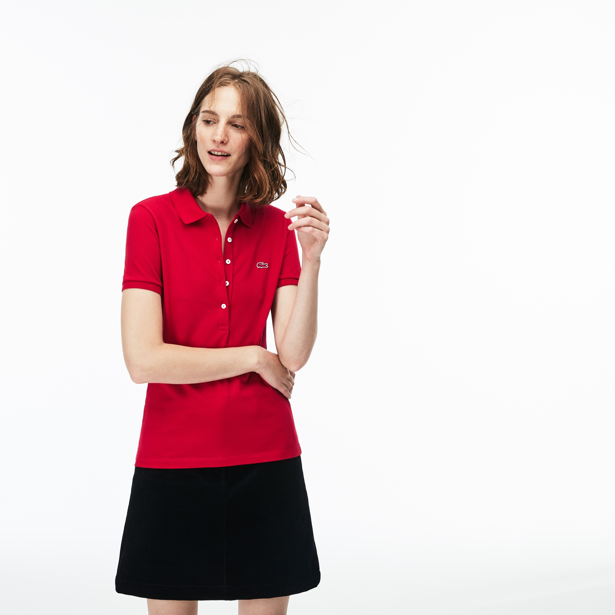Women's Lacoste Slim Fit Stretch Mini Cotton Piqué Polo Shirt