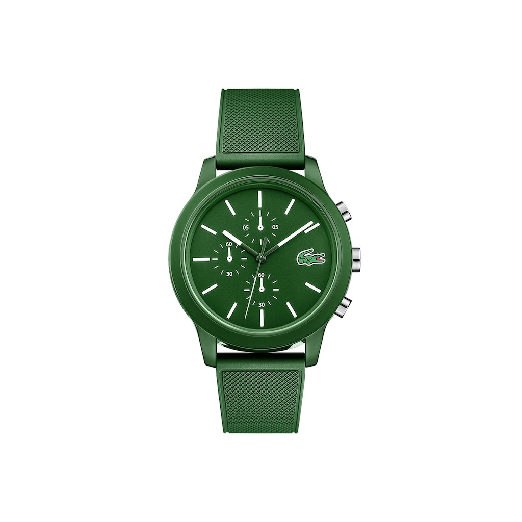 Men's Lacoste 12.12 Chronograph Watch with Green Silicone Strap