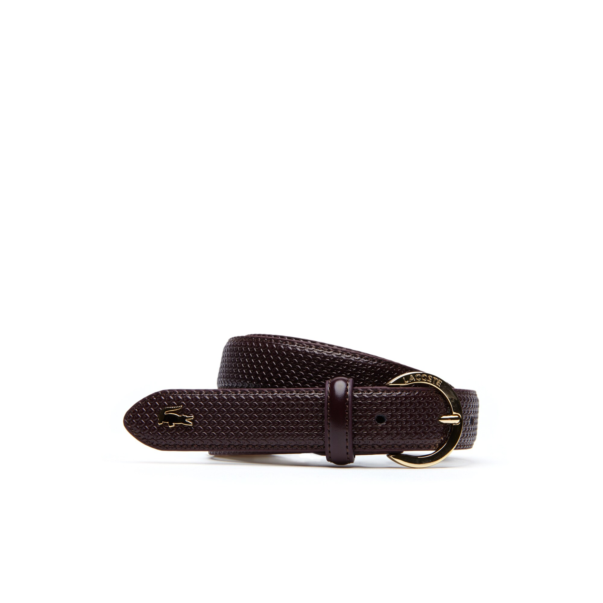 Lacoste - Women's Chantaco Lacoste Engraved Round Buckle Leather Belt - 1