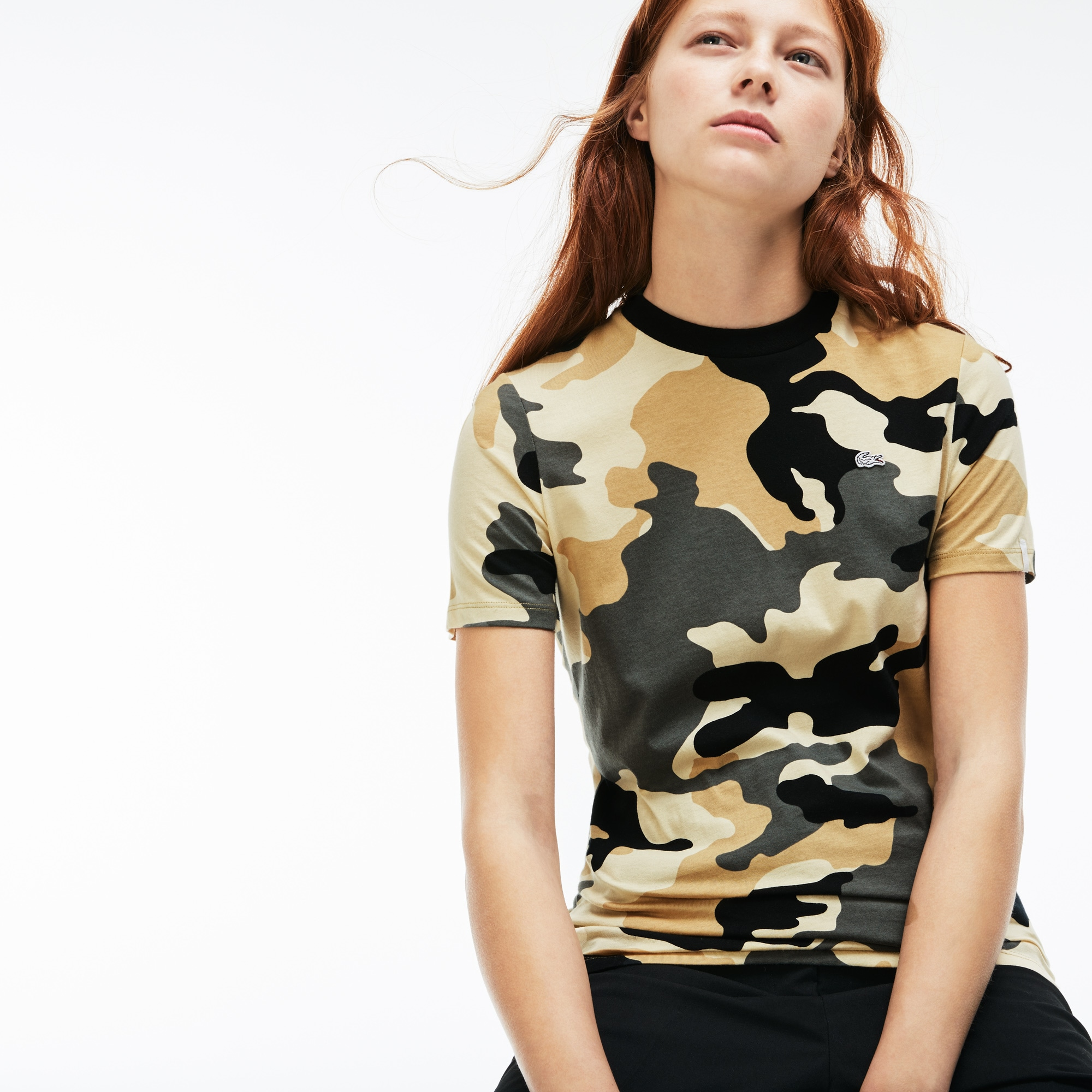 Women's Lacoste LIVE Crew Neck Camouflage Print Jersey T-shirt