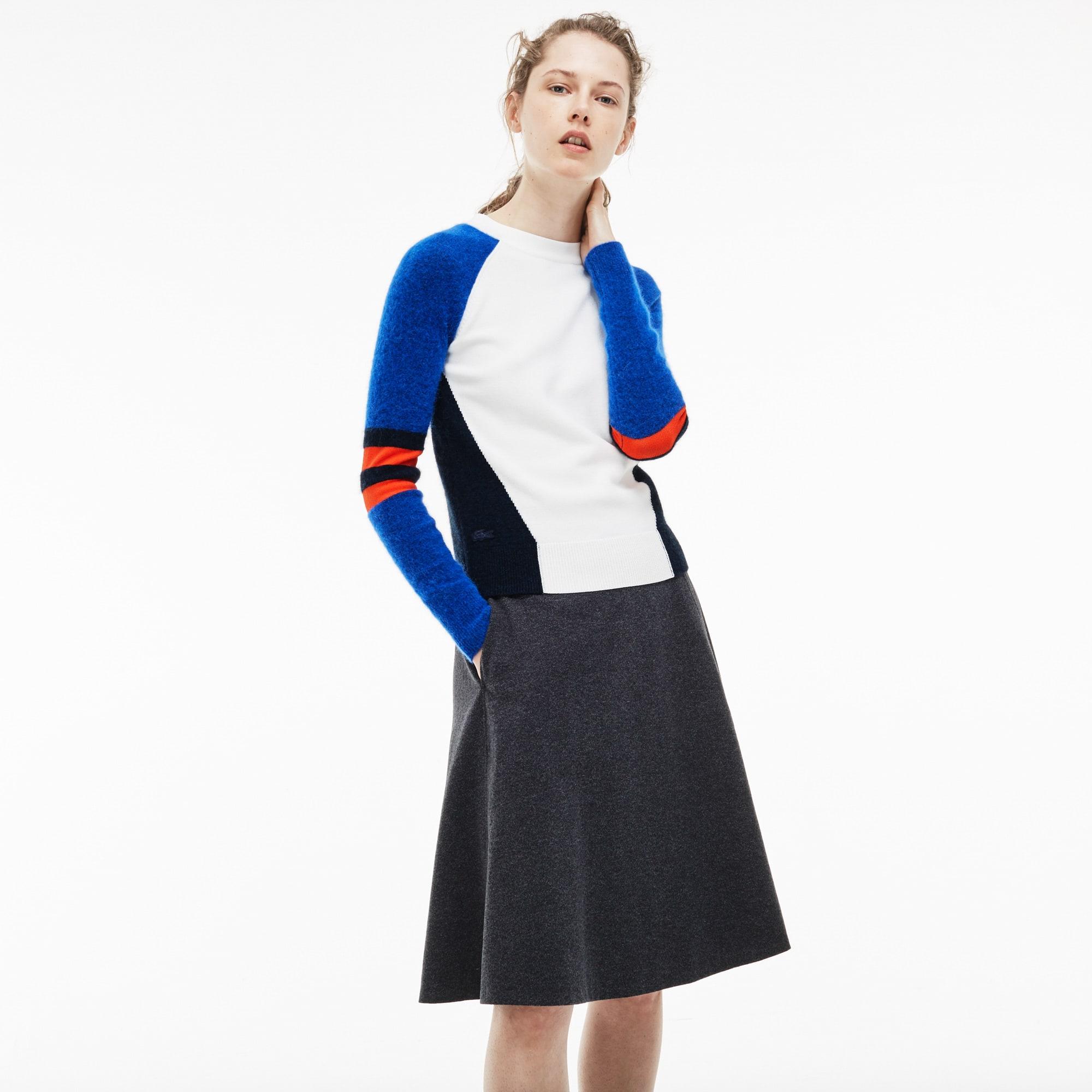 Women's Crew Neck Wool Jersey And Alpaca Colorblock Sweater