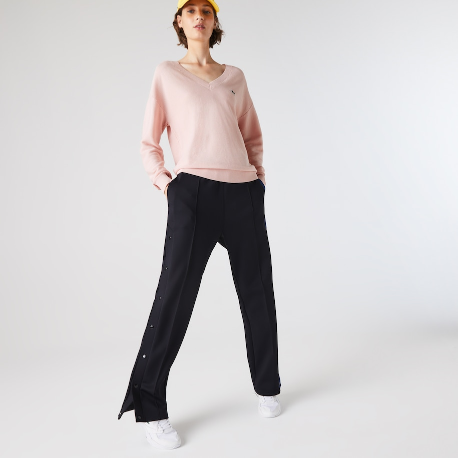 Women's V-Neck Texturised Heathered Cotton Sweater