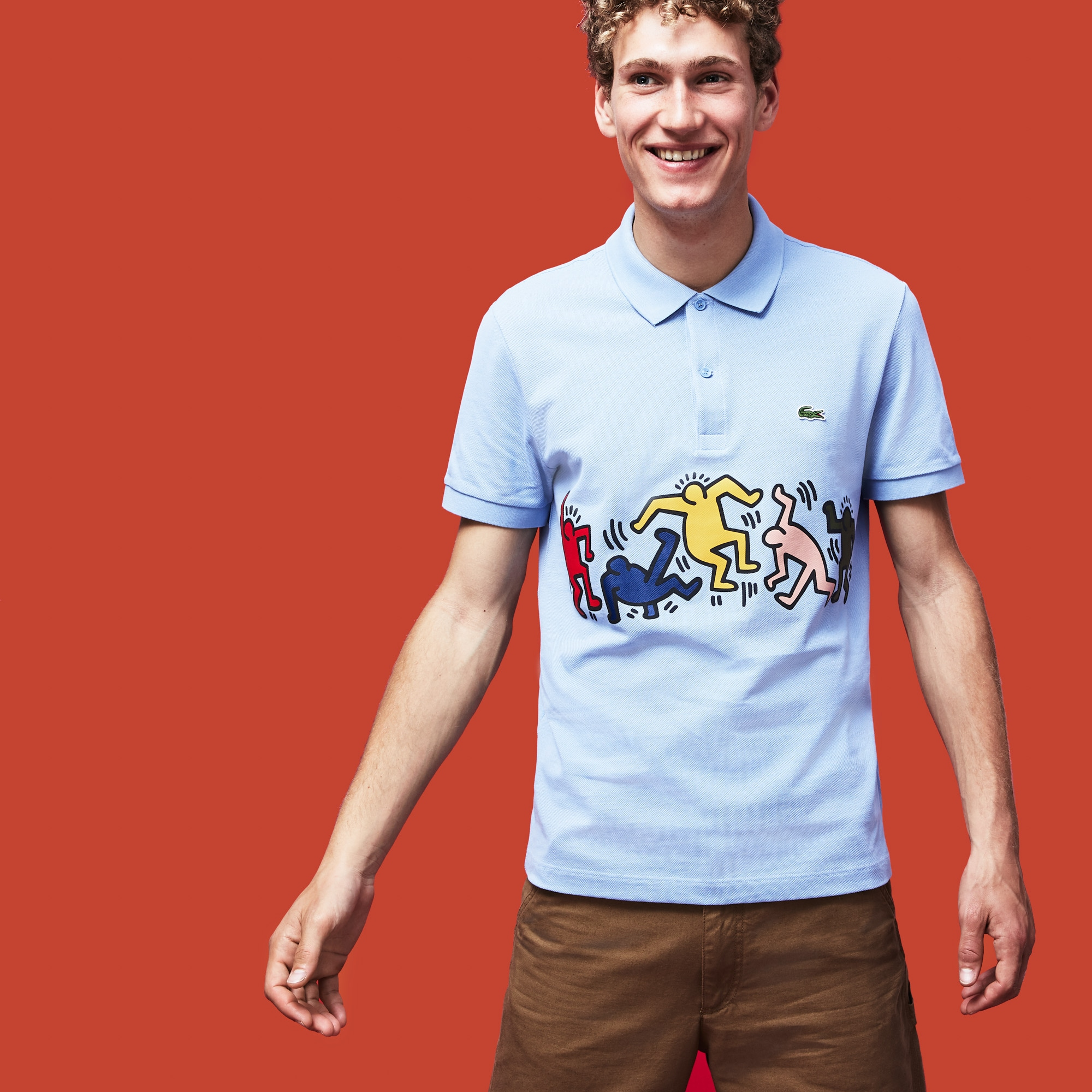 Men's Lacoste Keith Haring Print Band Regular Fit Petit Piqué Polo Shirt