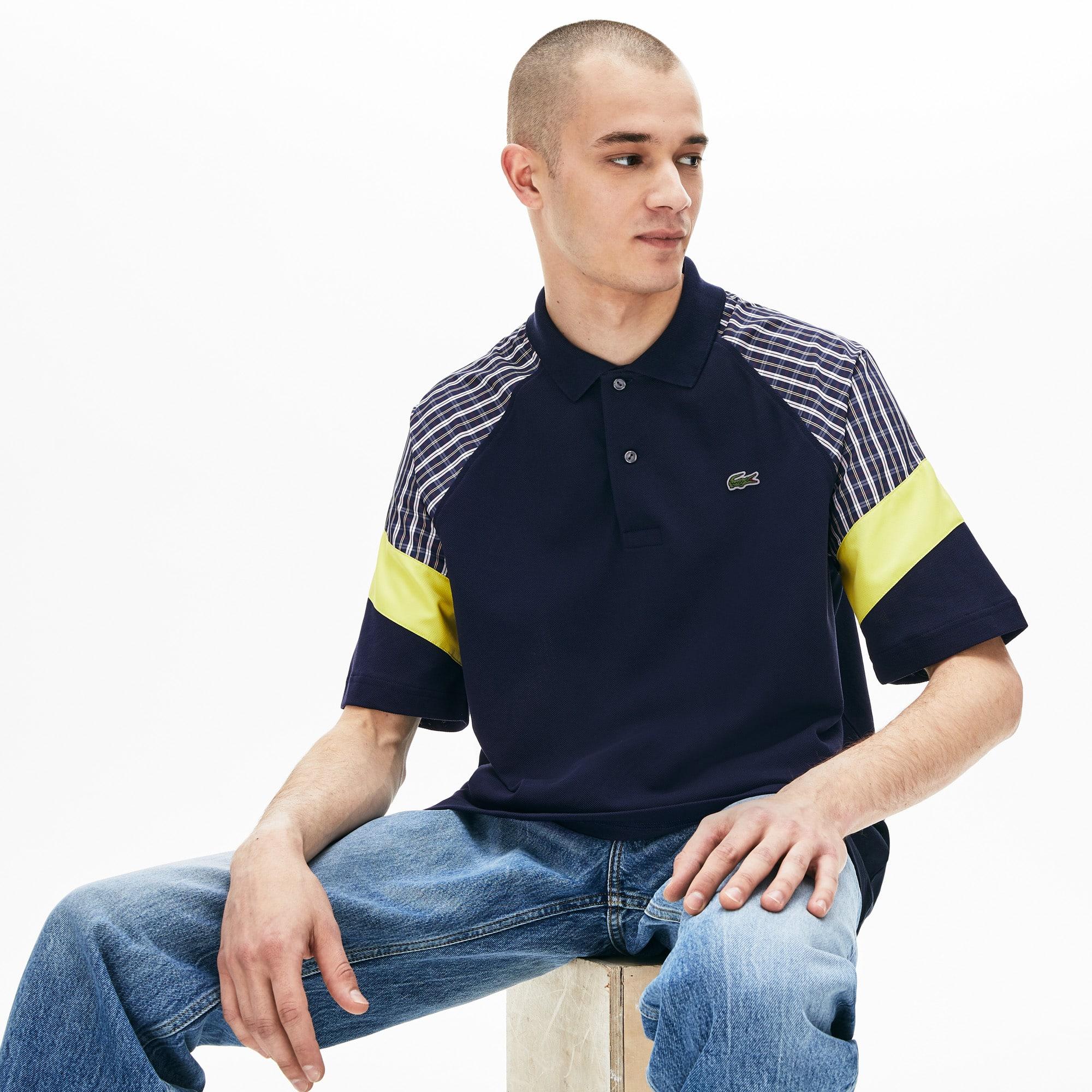 e34bc3c98c Men's Lacoste LIVE Loose Fit Patchwork Petit Piqué Polo Shirt