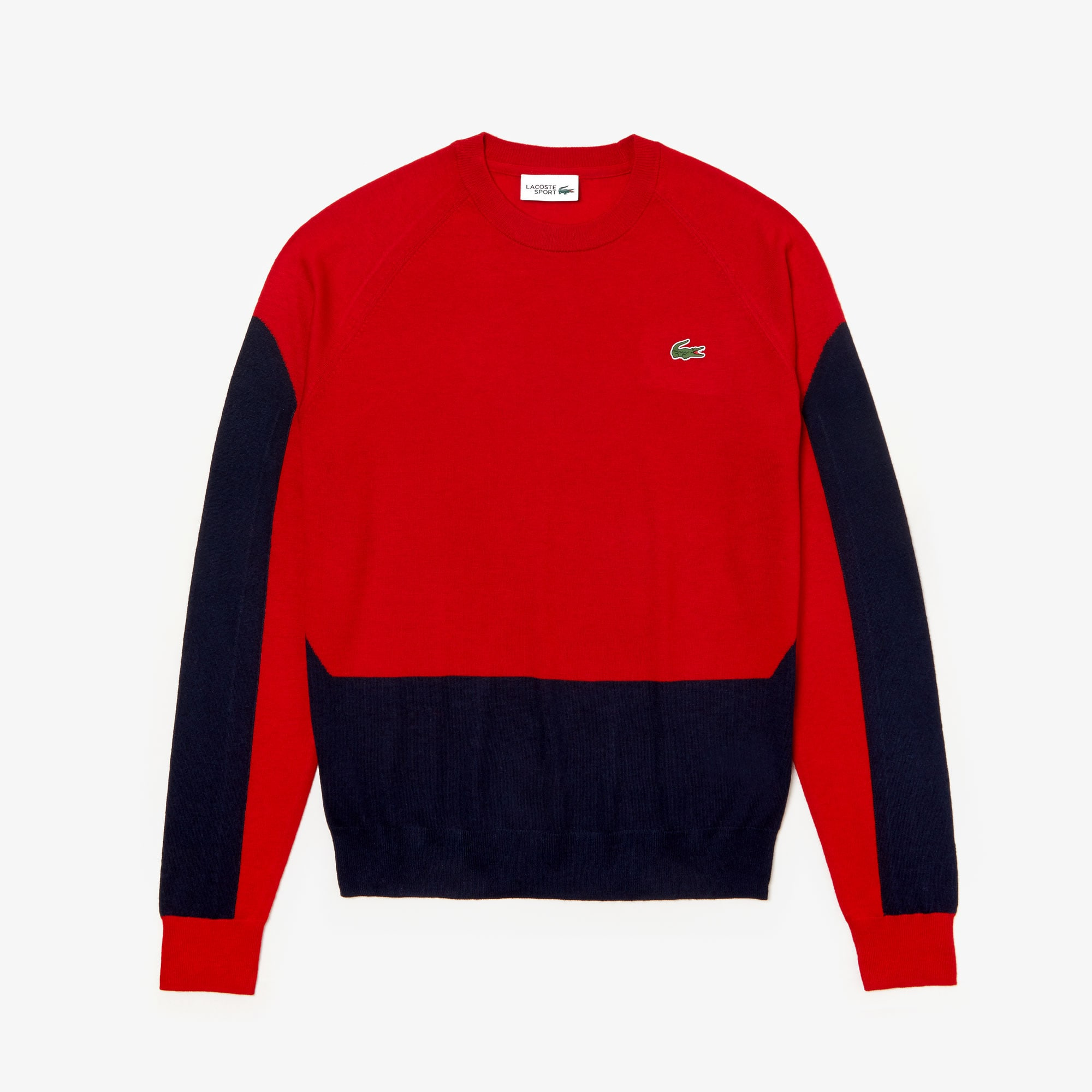 2348eaefc6 Men's Lacoste SPORT Colourblock Breathable Wool Golf Sweater