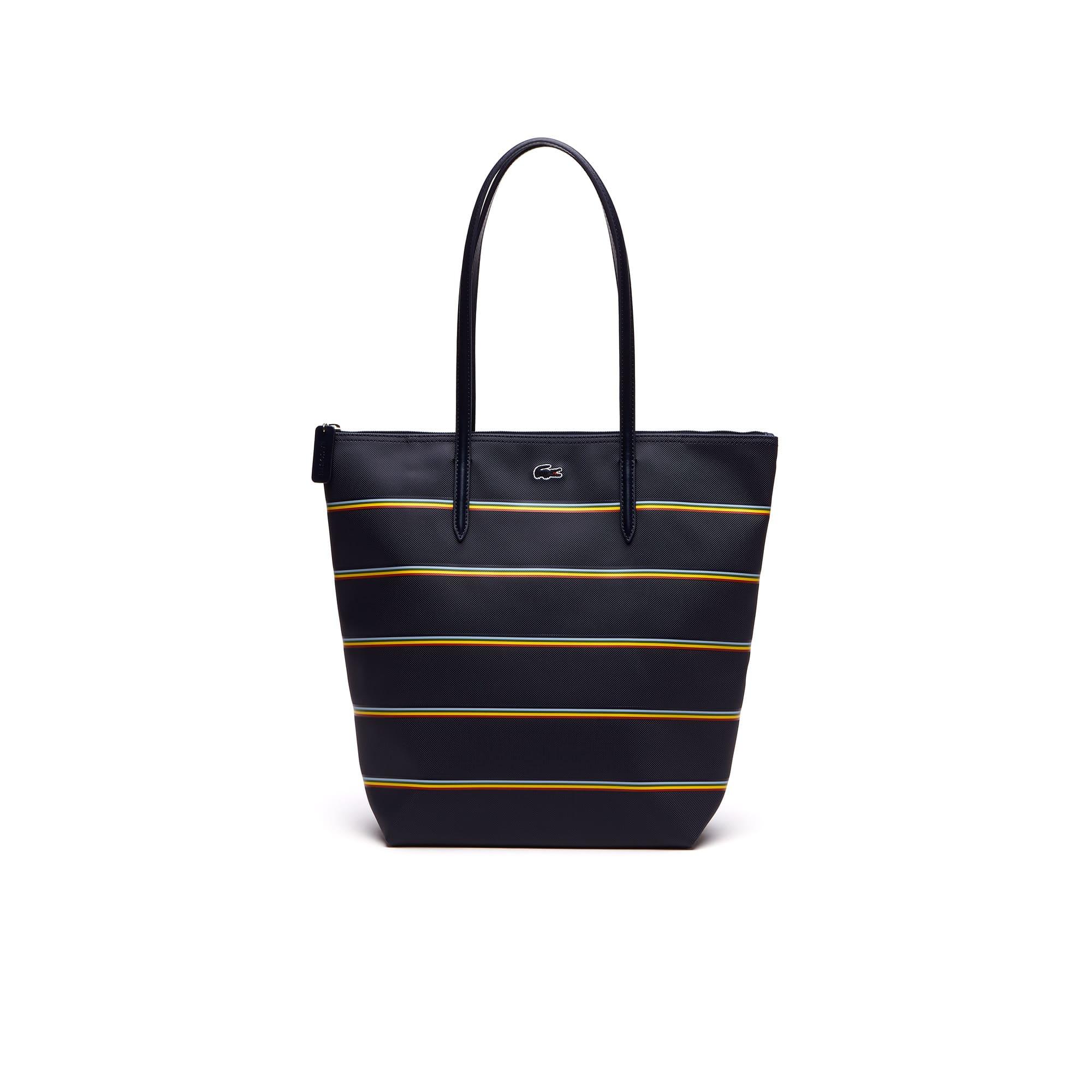 ... Women's L.12.12 Concept Rainbow Stripes Vertical Zip Tote Bag