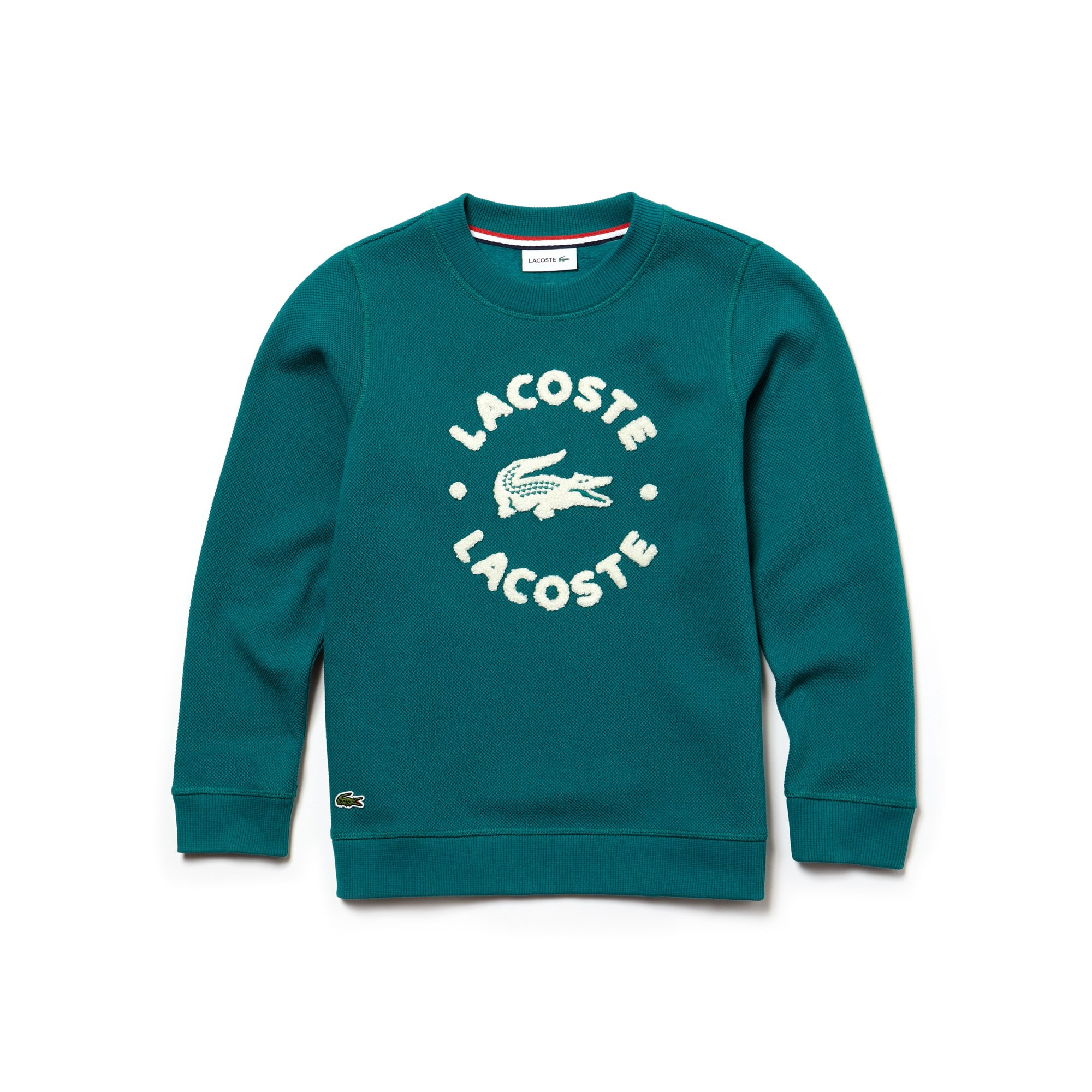 Boys' Crew Neck Lacoste Lettering Fleece Sweatshirt