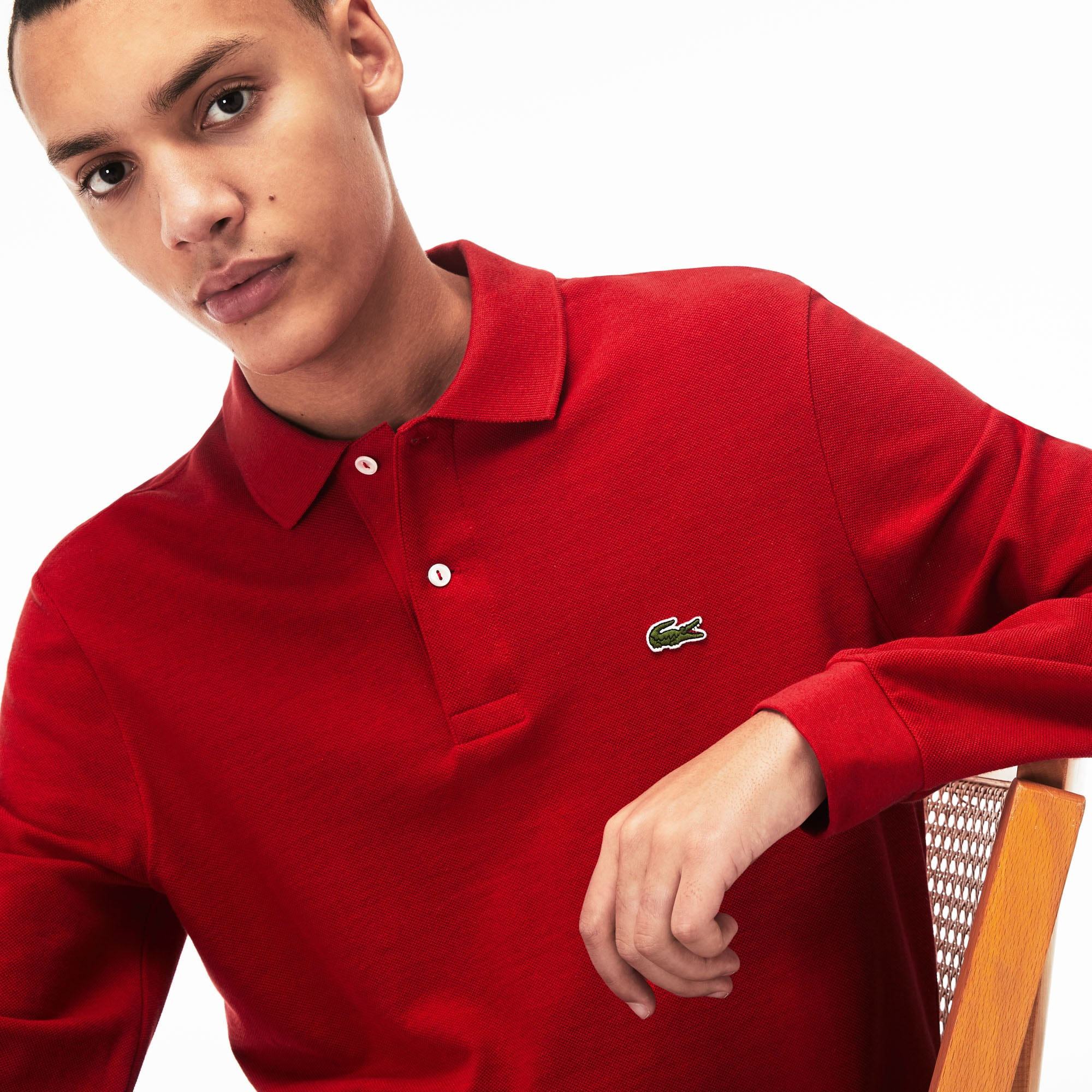 871f4cda564d7 Lacoste classic fit long-sleeve Polo Shirt in marl petit piqué