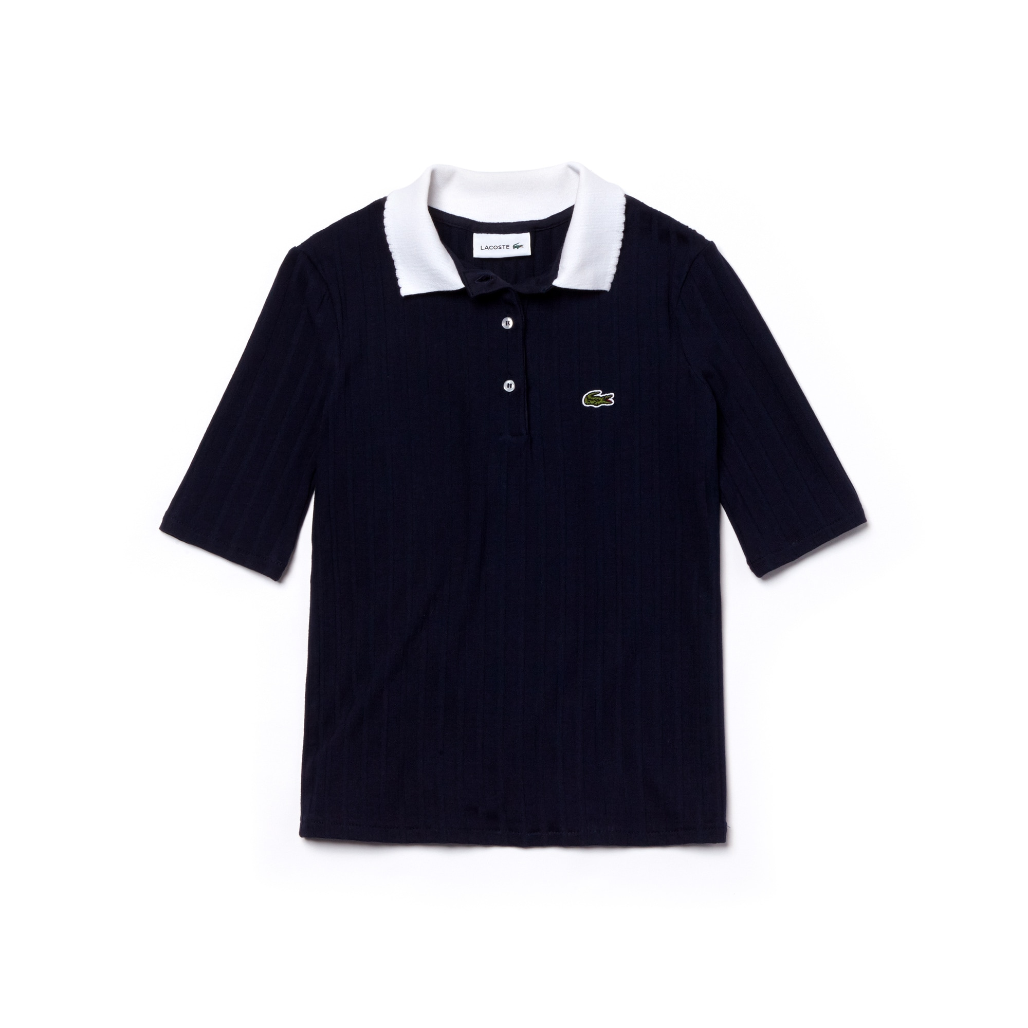Girls' Lacoste Contrast Neck Stretch Ribbed Knit Polo Shirt