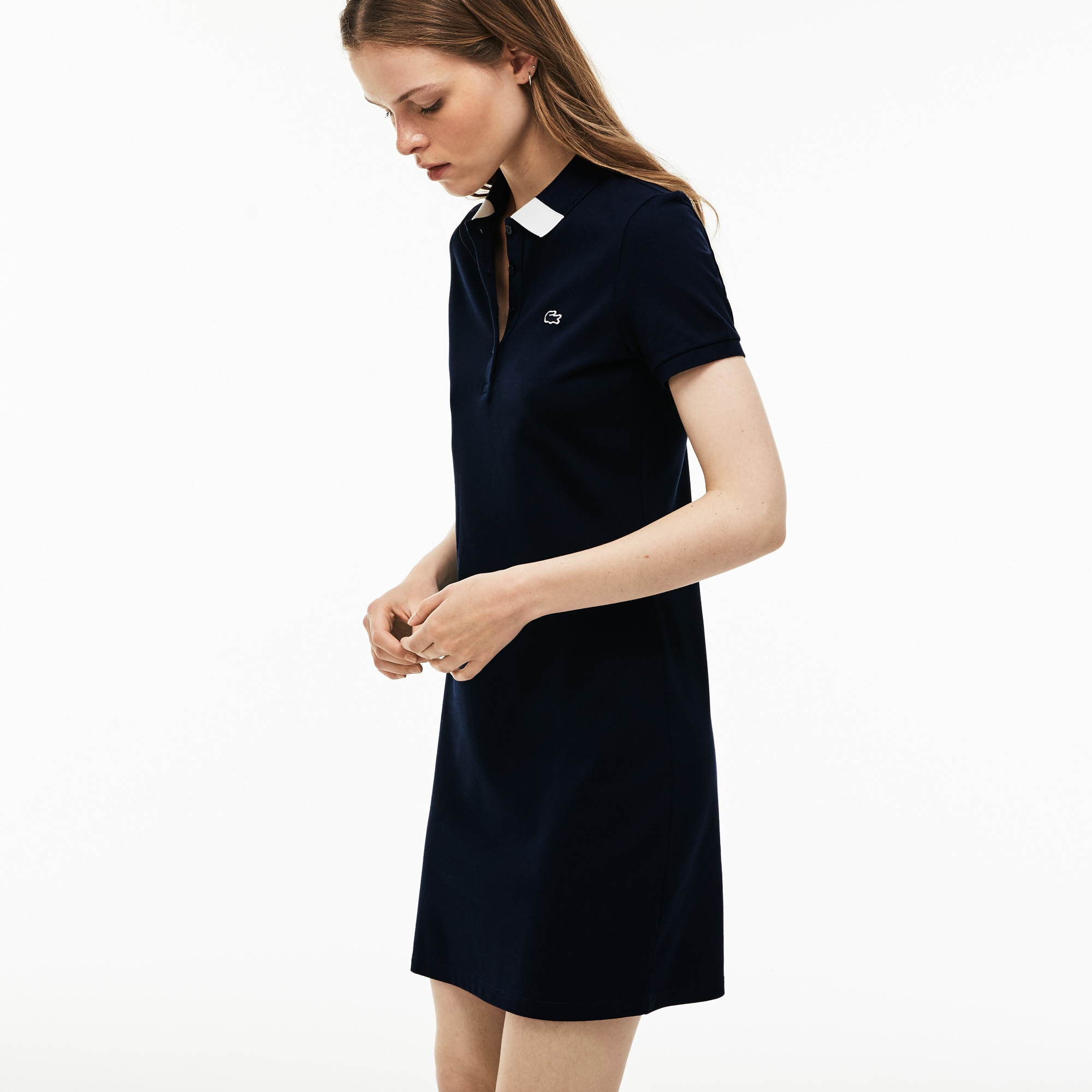 Women's Slim Fit Bicolour Polo Collar Stretch Mini Piqué Dress