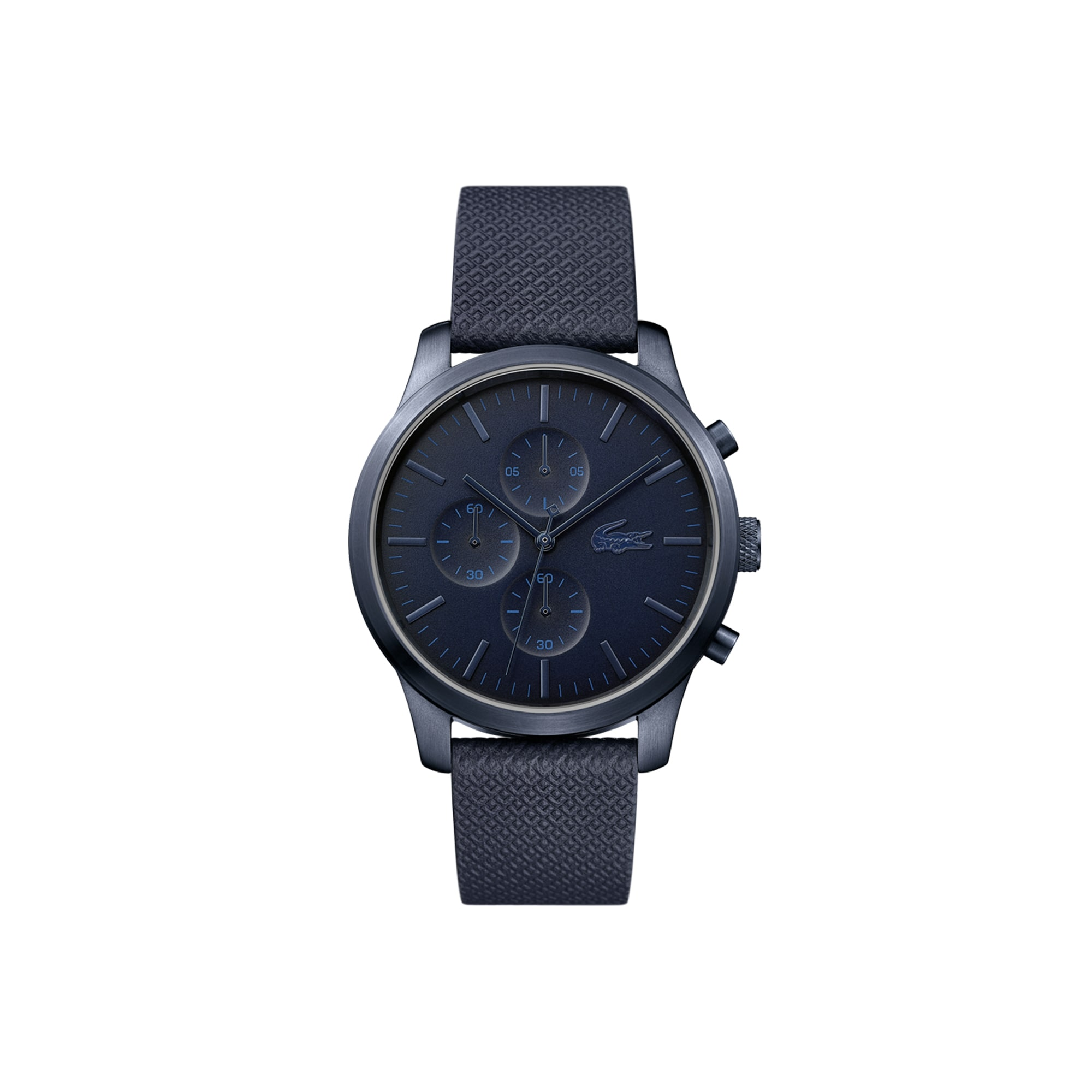 Men's Lacoste 12.12 Chronograph Watch 85th Anniversary with Blue Petit Piqué Embossed Leather Strap