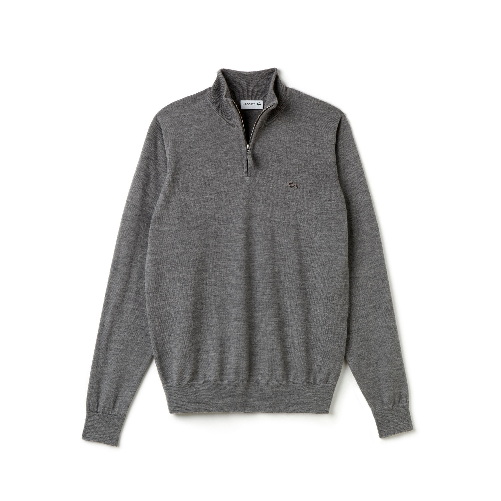 Men's Zippered Stand-Up Collar Wool Jersey Sweater