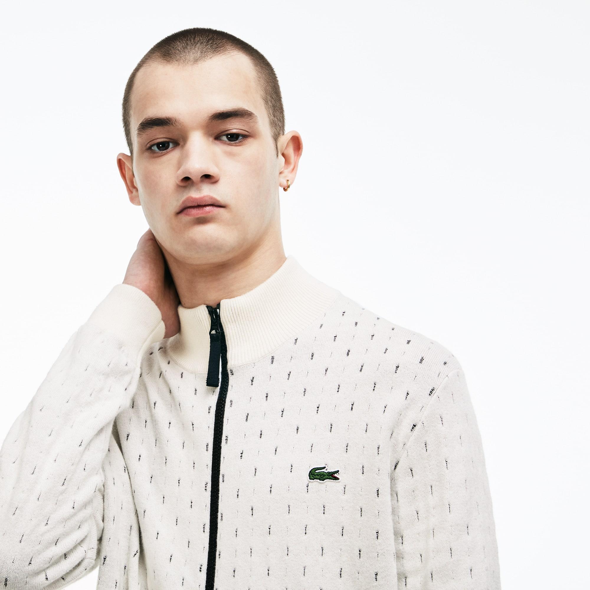 Men's Lacoste LIVE Print Cotton And Cashmere Jacquard Zip Jacket