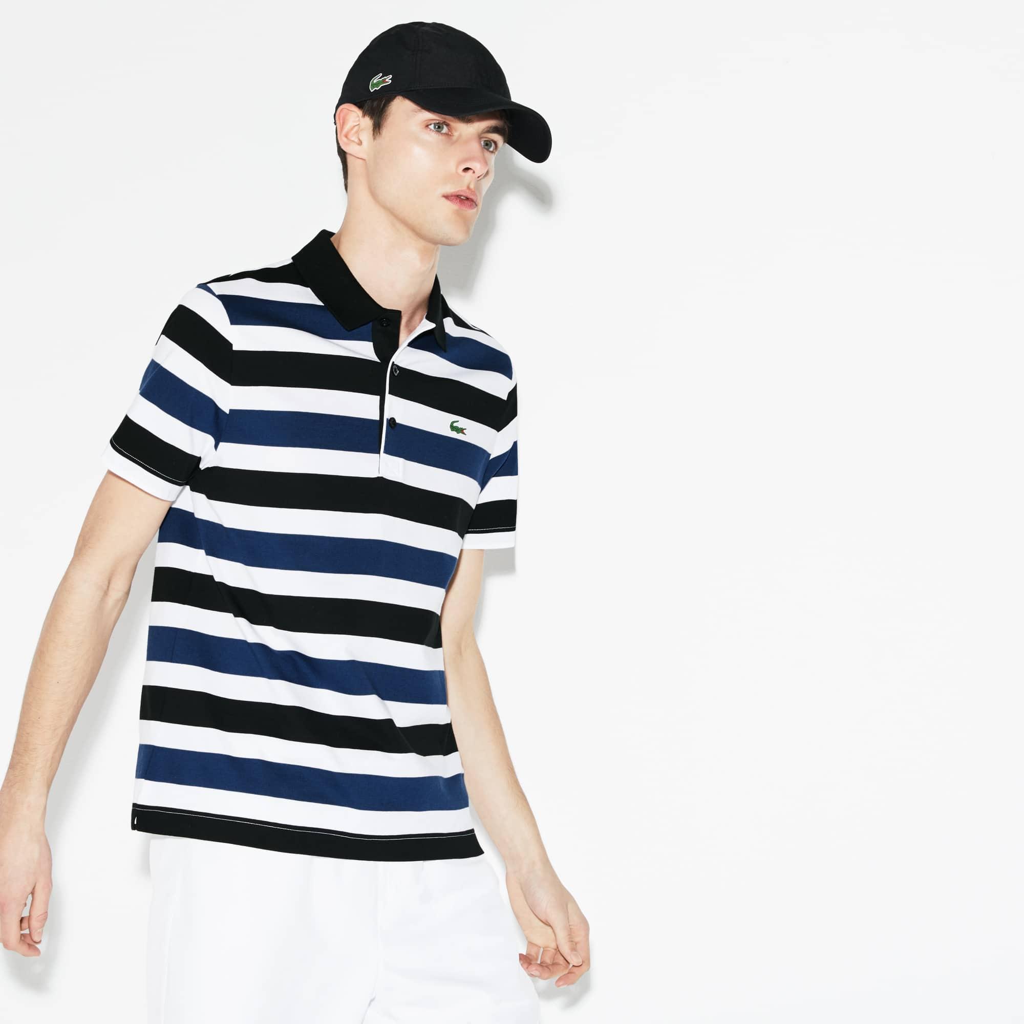 Men's Lacoste SPORT Striped Cotton Jersey Tennis Polo Shirt
