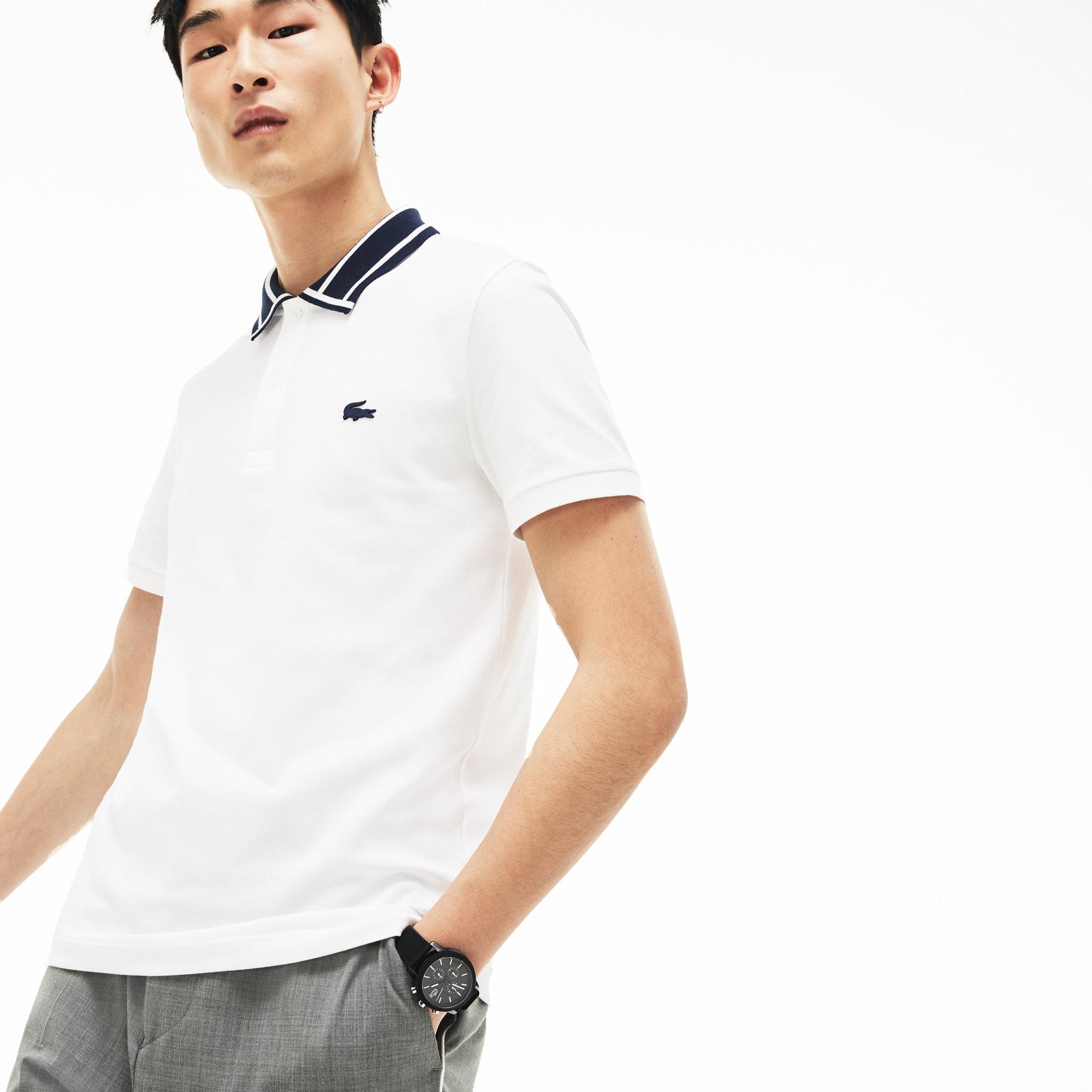 d9b0b3791 Men s Lacoste Slim Fit Piped Neck Stretch Pima Cotton Polo Shirt ...