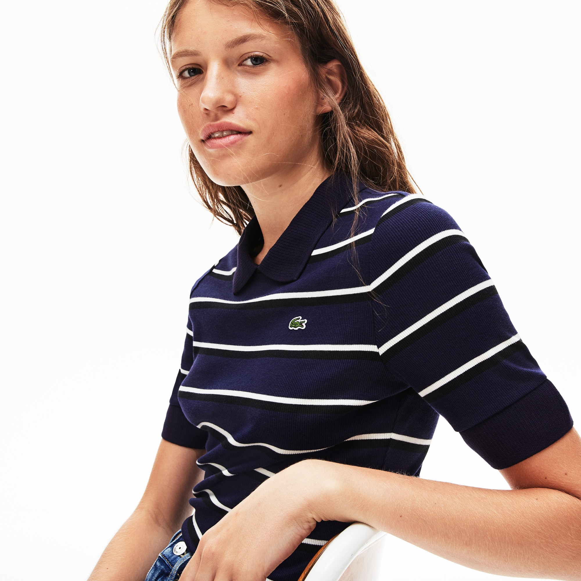Live Slim Fit Shirt Ribbed Women's Lacoste Striped Knit Polo OXZPkiuT
