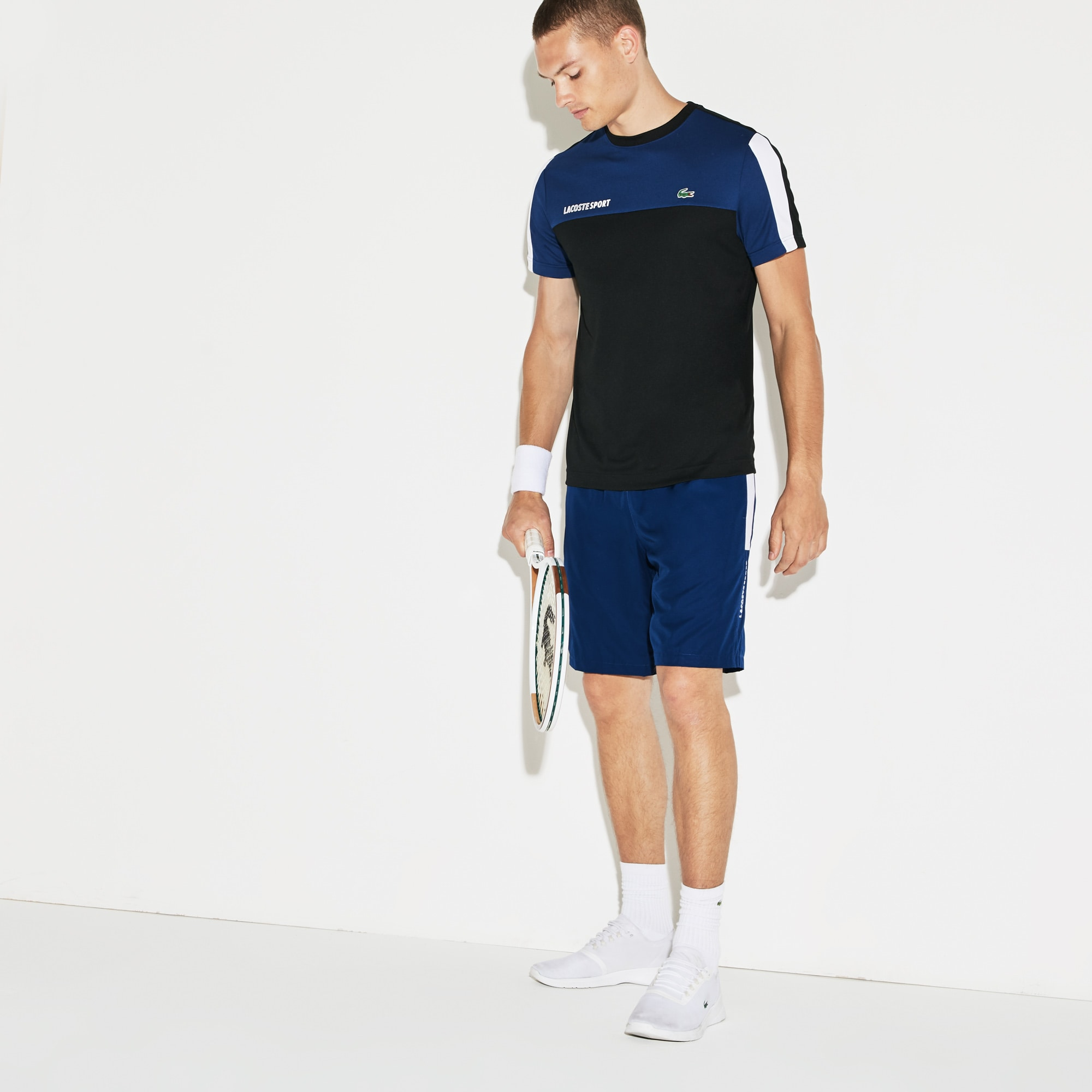 Men´s Lacoste SPORT Colored Bands Taffeta Tennis Shorts Size 2 - XS Navy  Blue   Black   White   White 6b7a1bb66ab