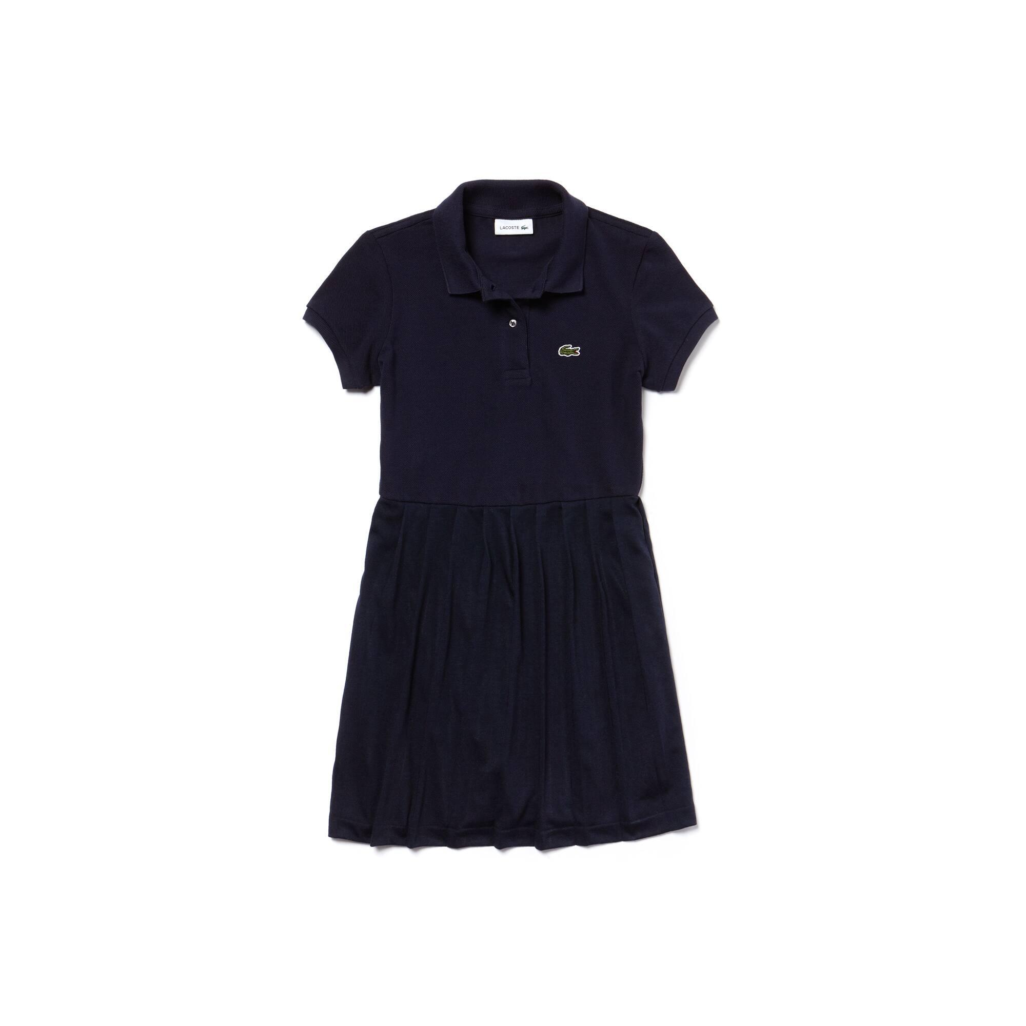 Girls' Pleated Cotton Petit Piqué Polo Dress