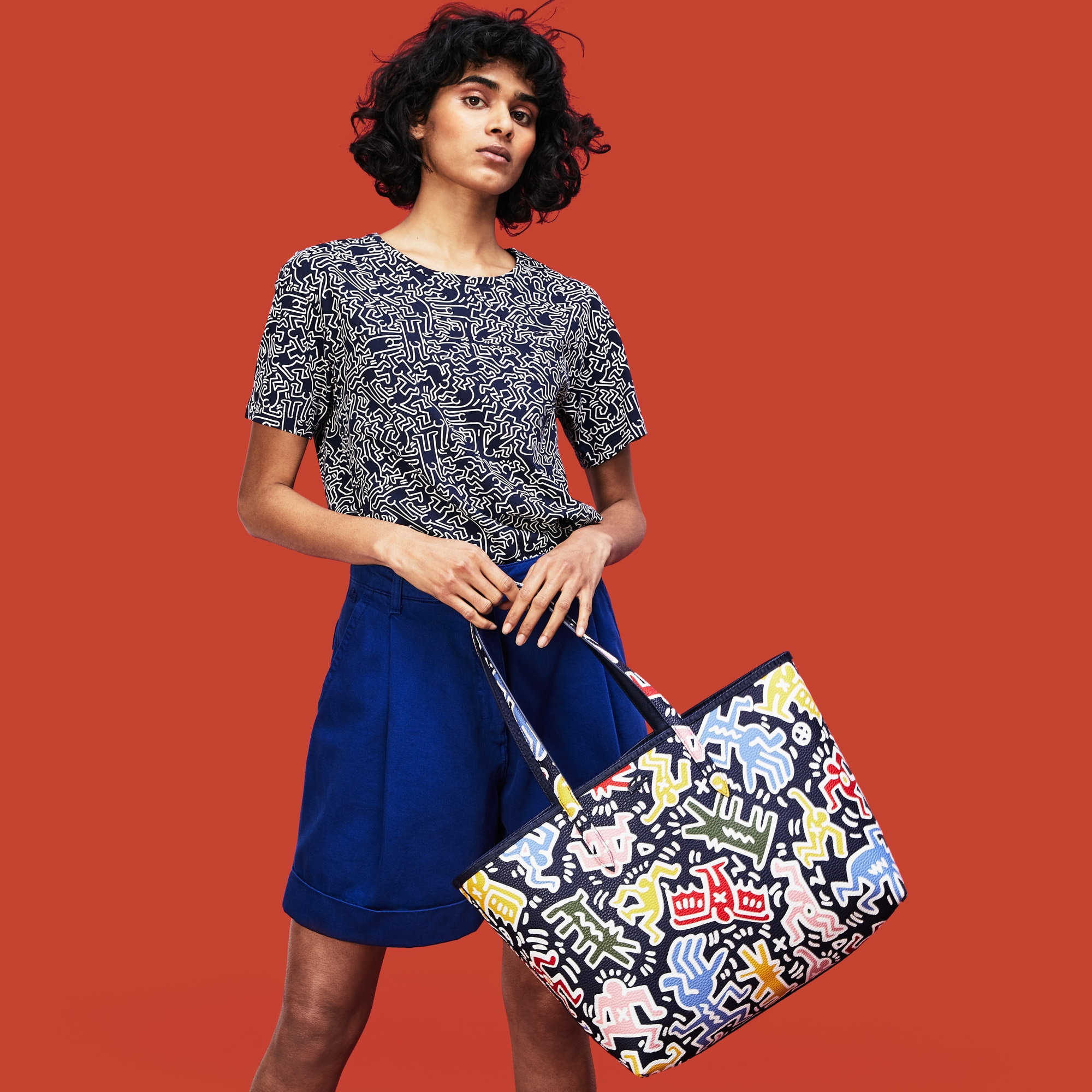 ea7bd89ef91 Women's Keith Haring Print Anna Reversible Tote Bag   LACOSTE