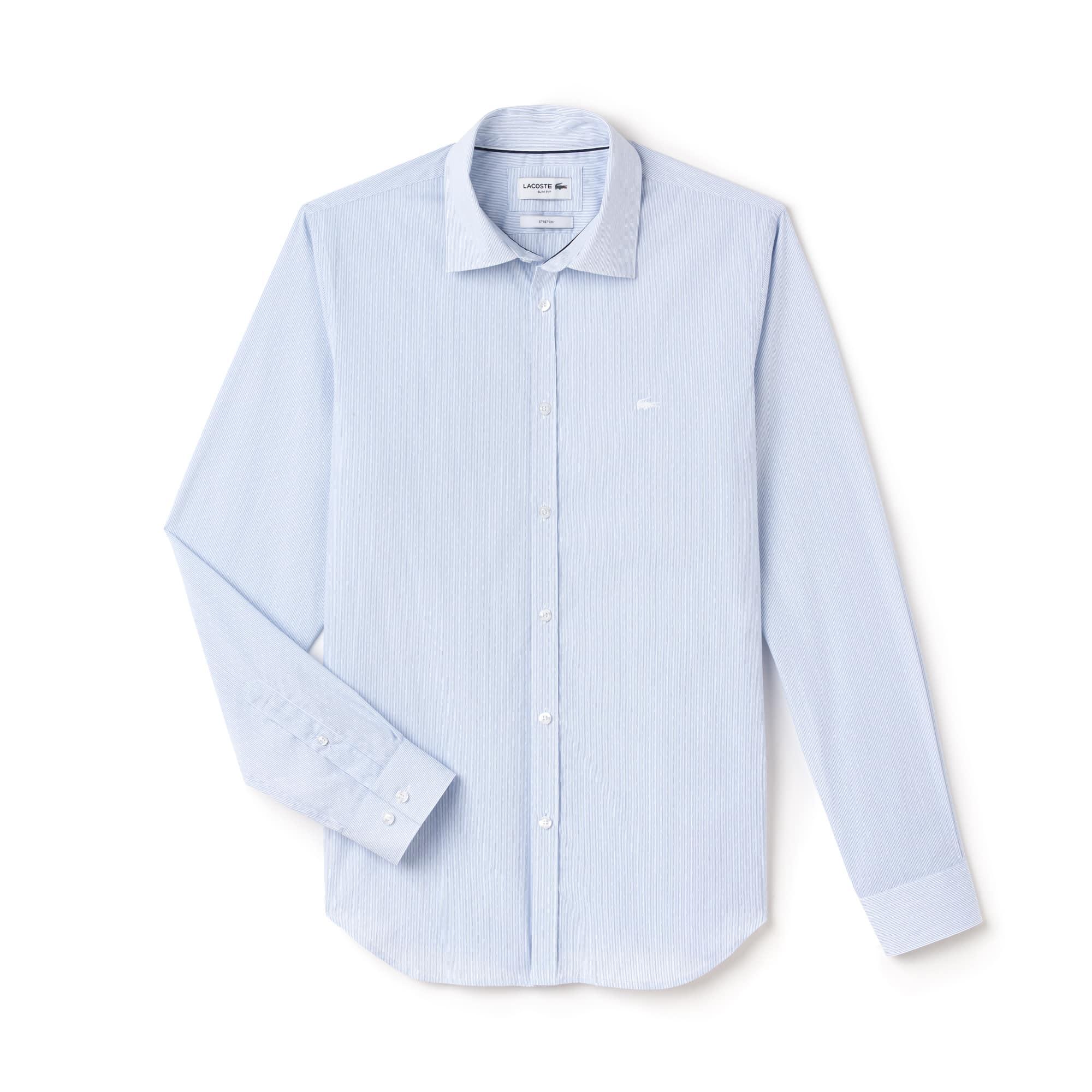 Men's Slim Fit Polka Dots And Stripes Jacquard Poplin Shirt