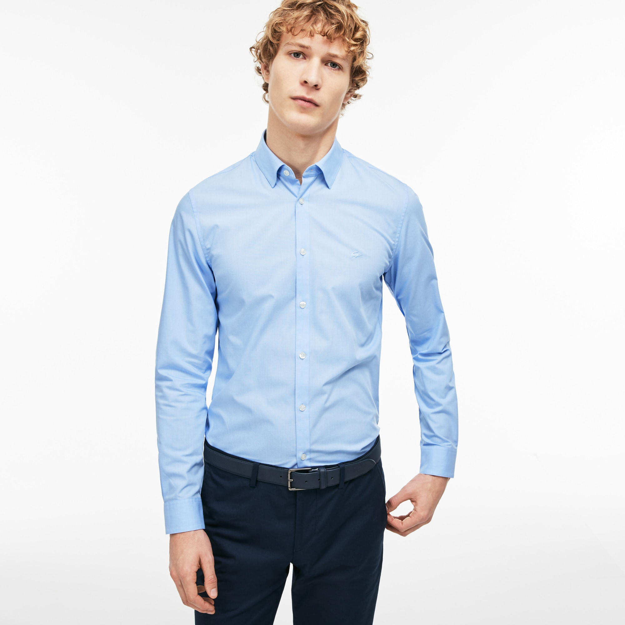 Men's Slim Fit Striped Jacquard Poplin Shirt