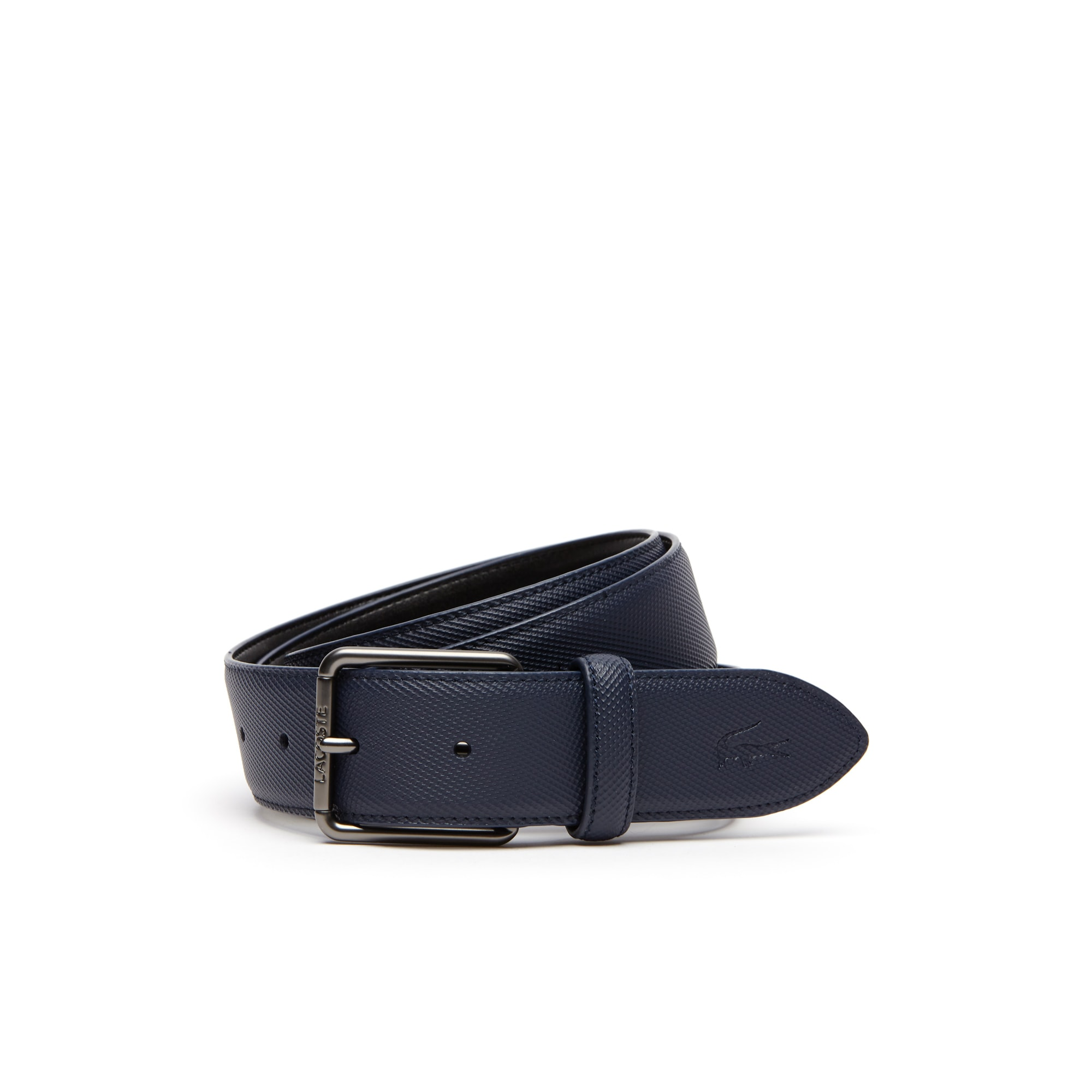 Men's Classic Lacoste Engraved Tongue Buckle Petit Piqué Belt