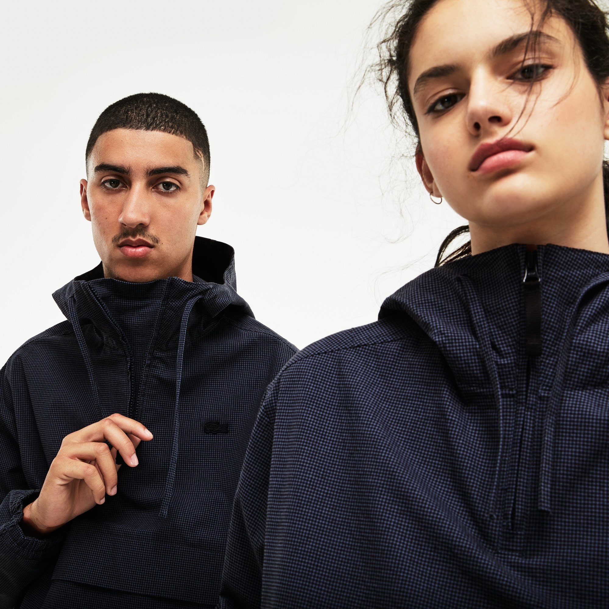 Unisex Lacoste LIVE Hooded Gingham Seersucker Windbreaker