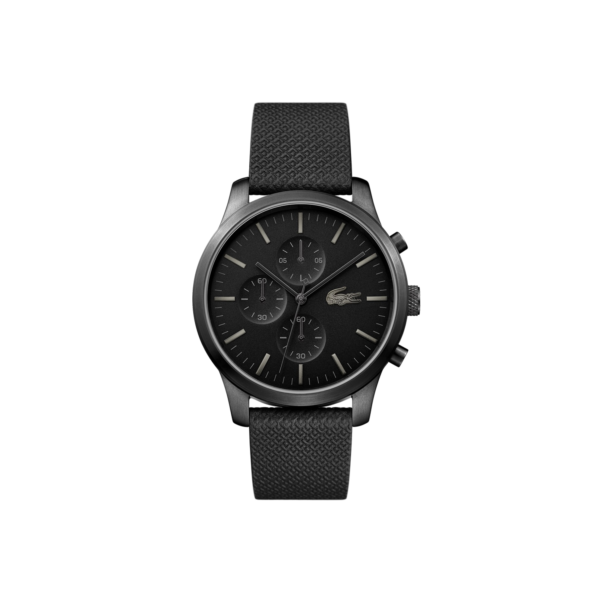Men's Lacoste 12.12 Chronograph Watch 85th Anniversary with Black Embossed Leather Strap