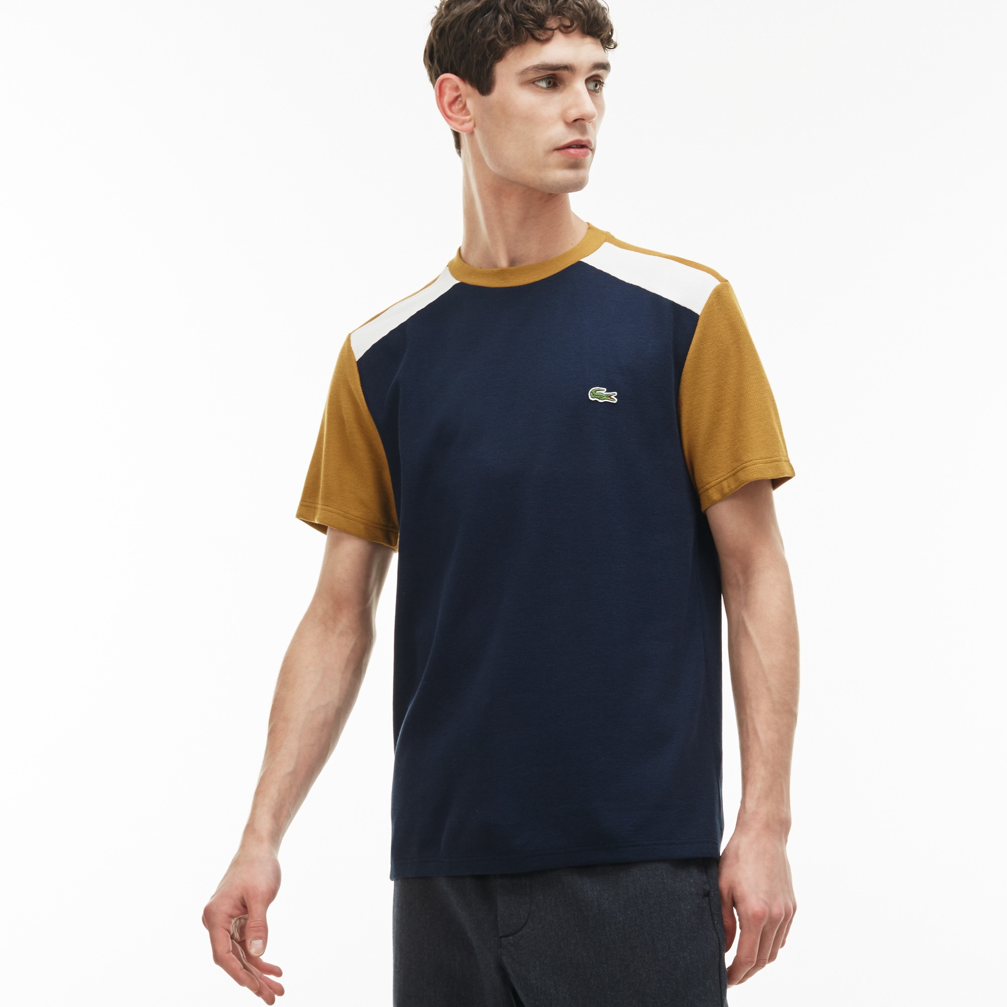 Men's Crew Neck Colorblock Jersey And Piqué T-shirt