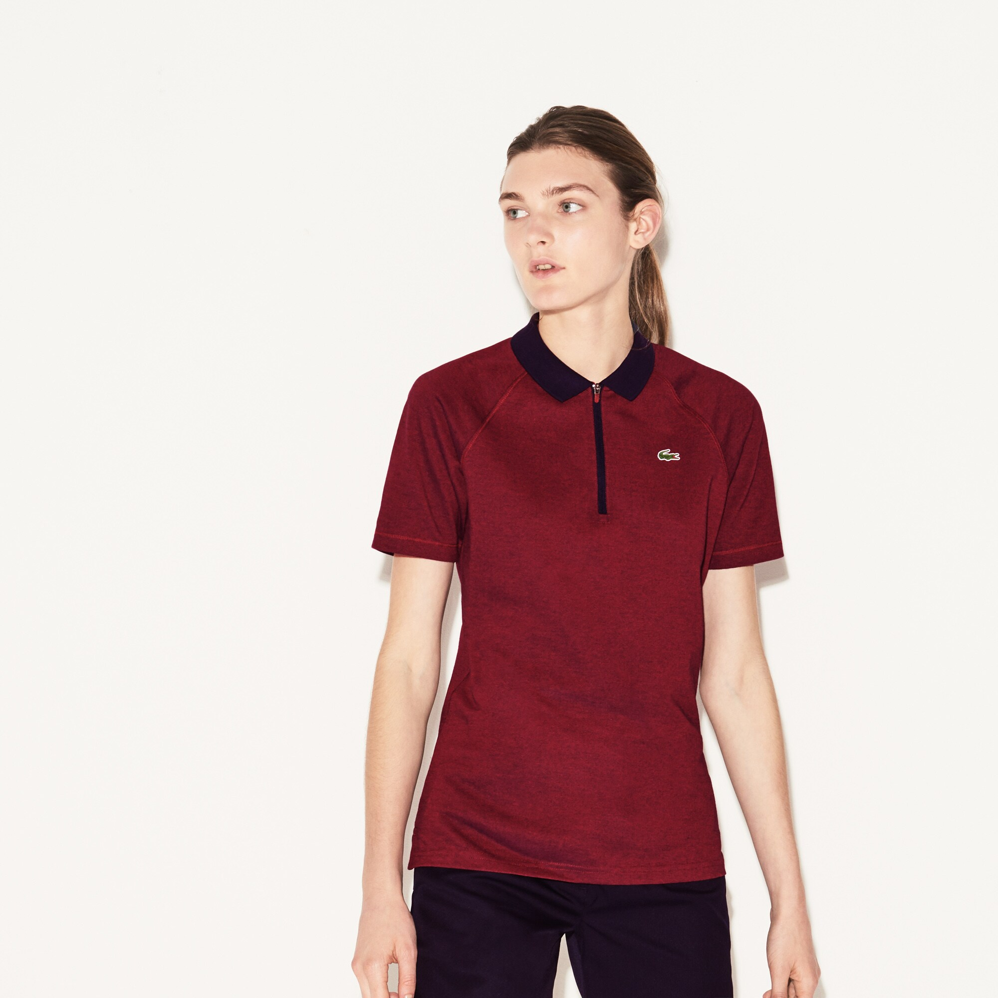 Women's Lacoste SPORT Zip Neck Technical Jersey Golf Polo Shirt