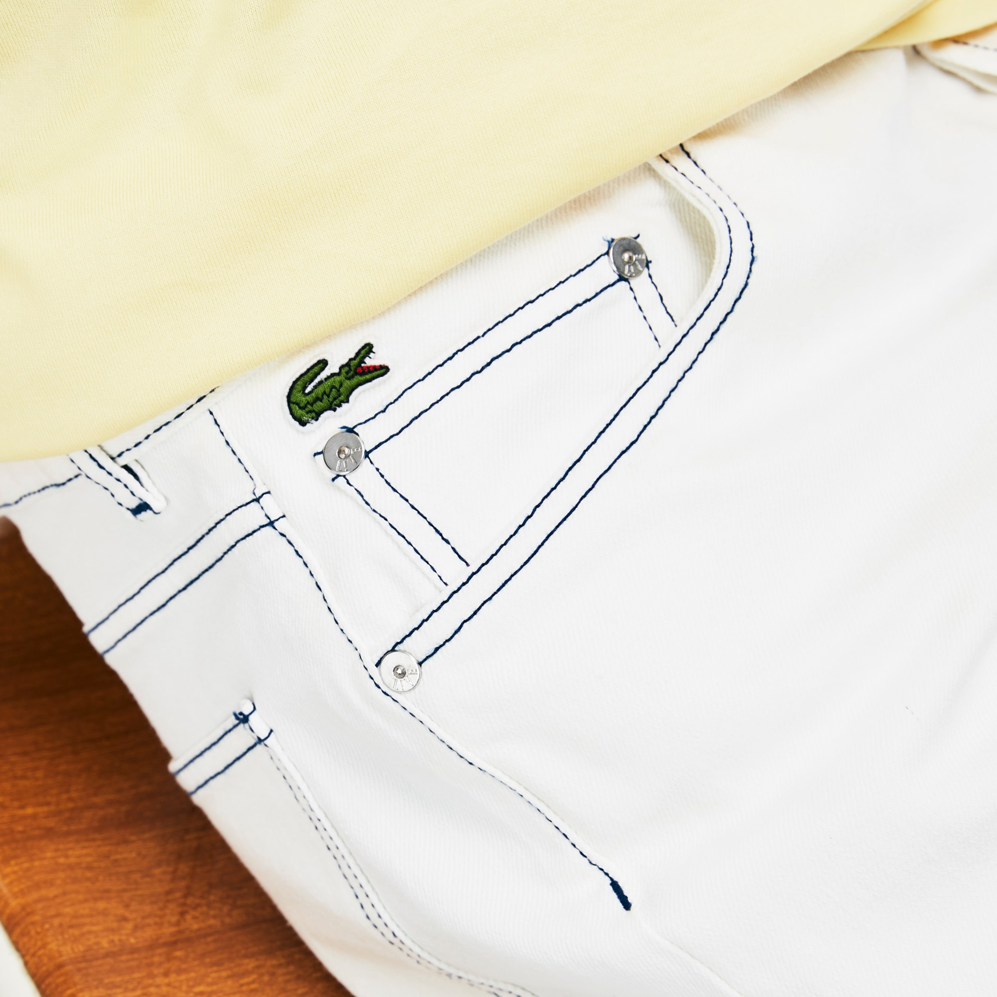 Men's Lacoste LIVE 5-Pocket Faded Denim Bermuda Shorts