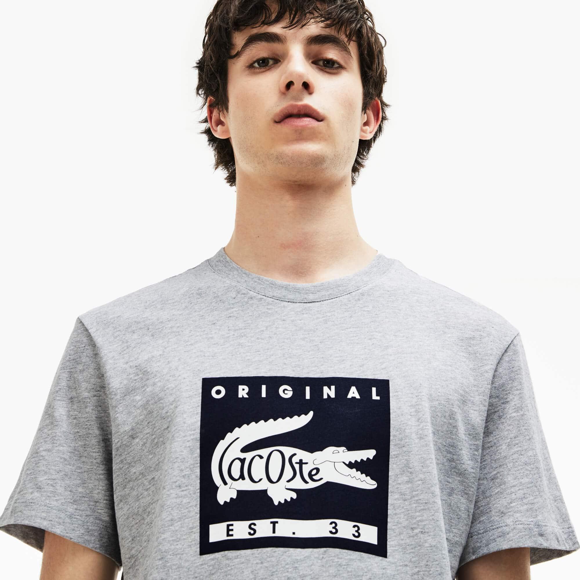Men's Crew Neck Lacoste Original Lettering Jersey T-shirt